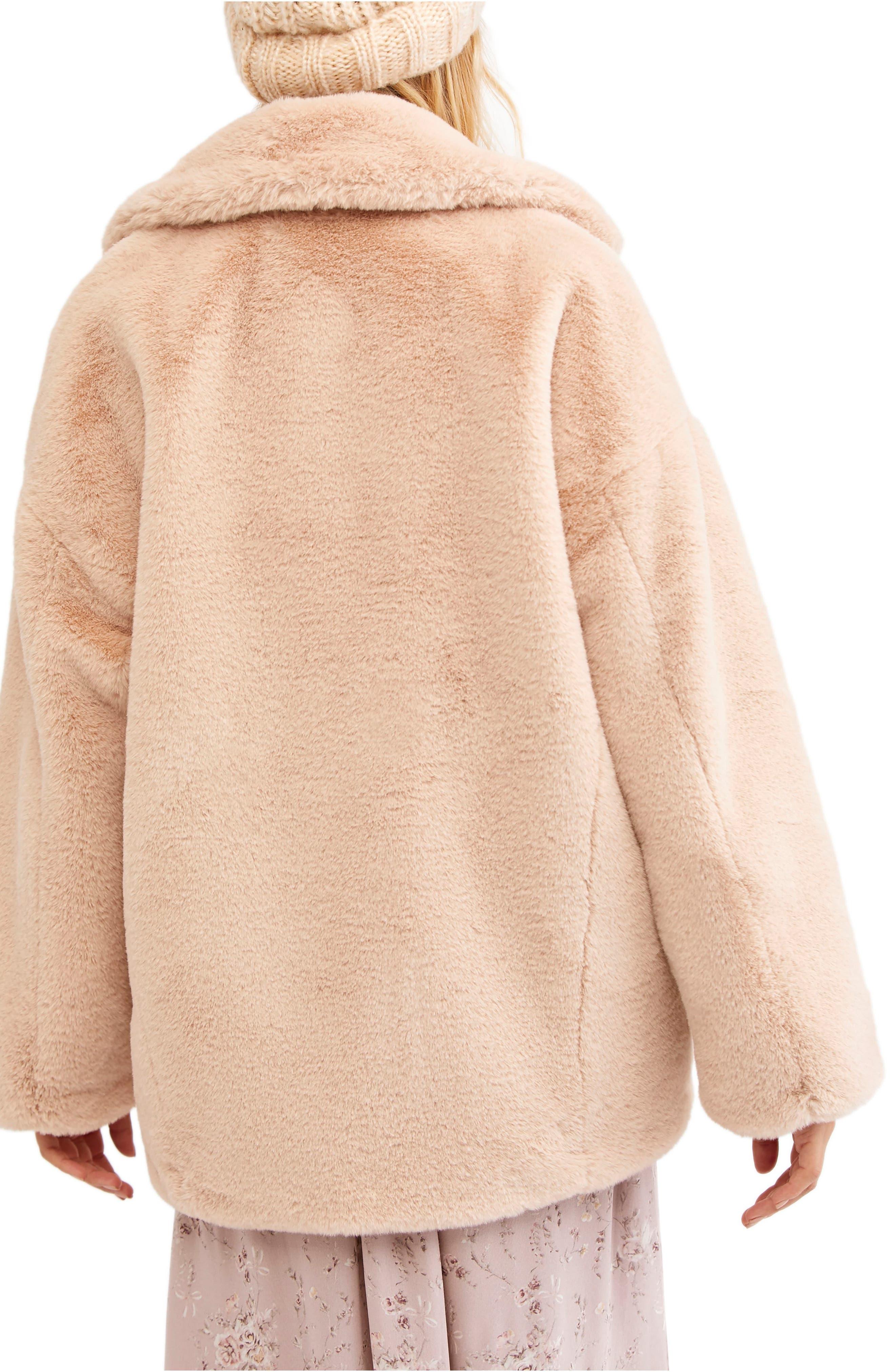 Kate Faux Fur Coat,                             Alternate thumbnail 2, color,                             ROSE