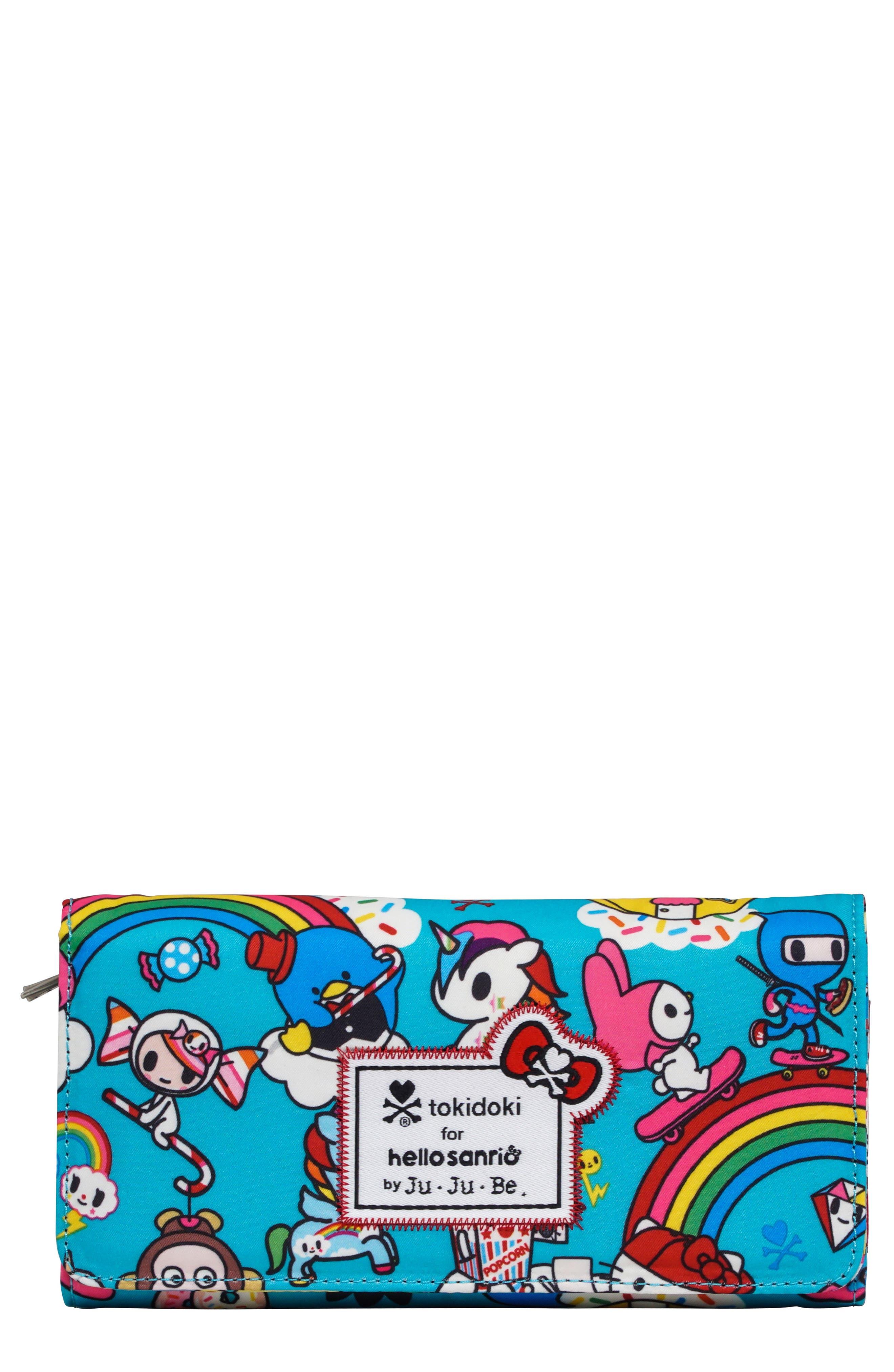 x tokidoki for Hello Sanrio Rainbow Dreams Be Rich Trifold Clutch Wallet,                             Main thumbnail 1, color,                             RAINBOW DREAMS