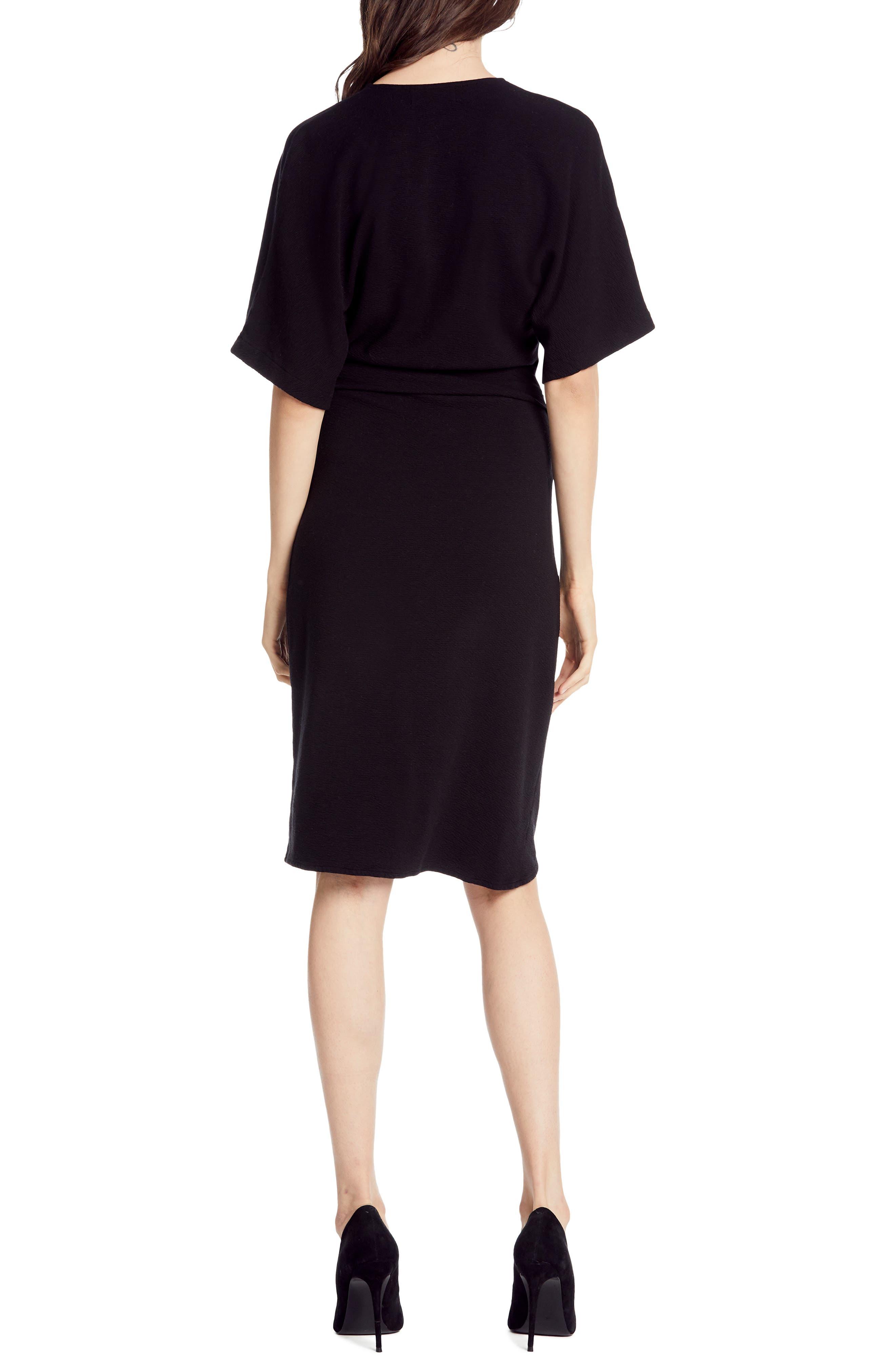 MICHAEL STARS,                             Pebble Knit Pleat Wrap Dress,                             Alternate thumbnail 2, color,                             BLACK