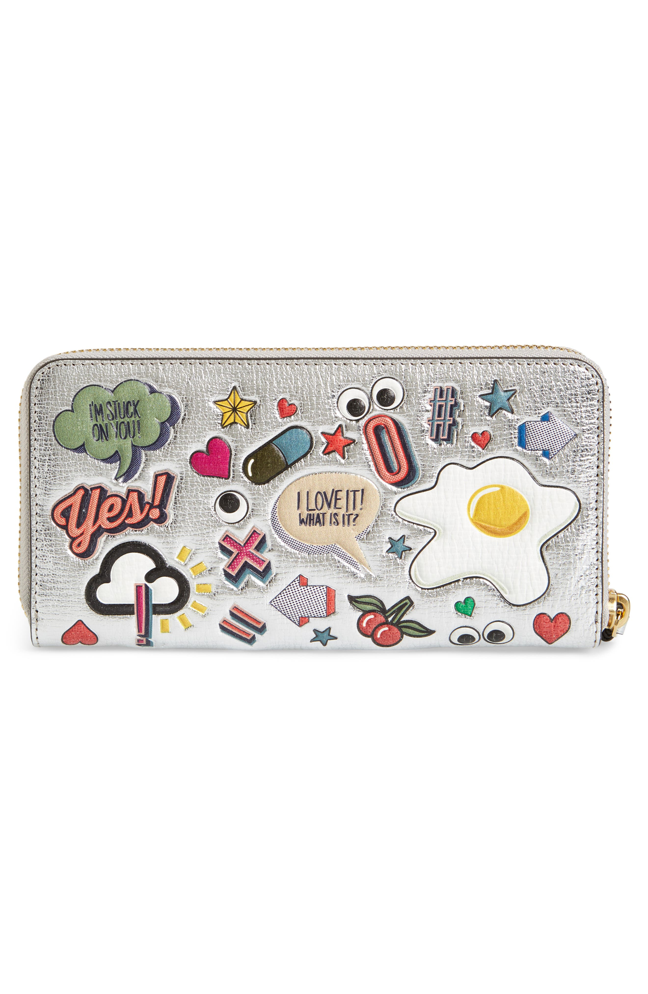 Allover Stickers Leather Zip Around Wallet,                             Alternate thumbnail 3, color,                             040