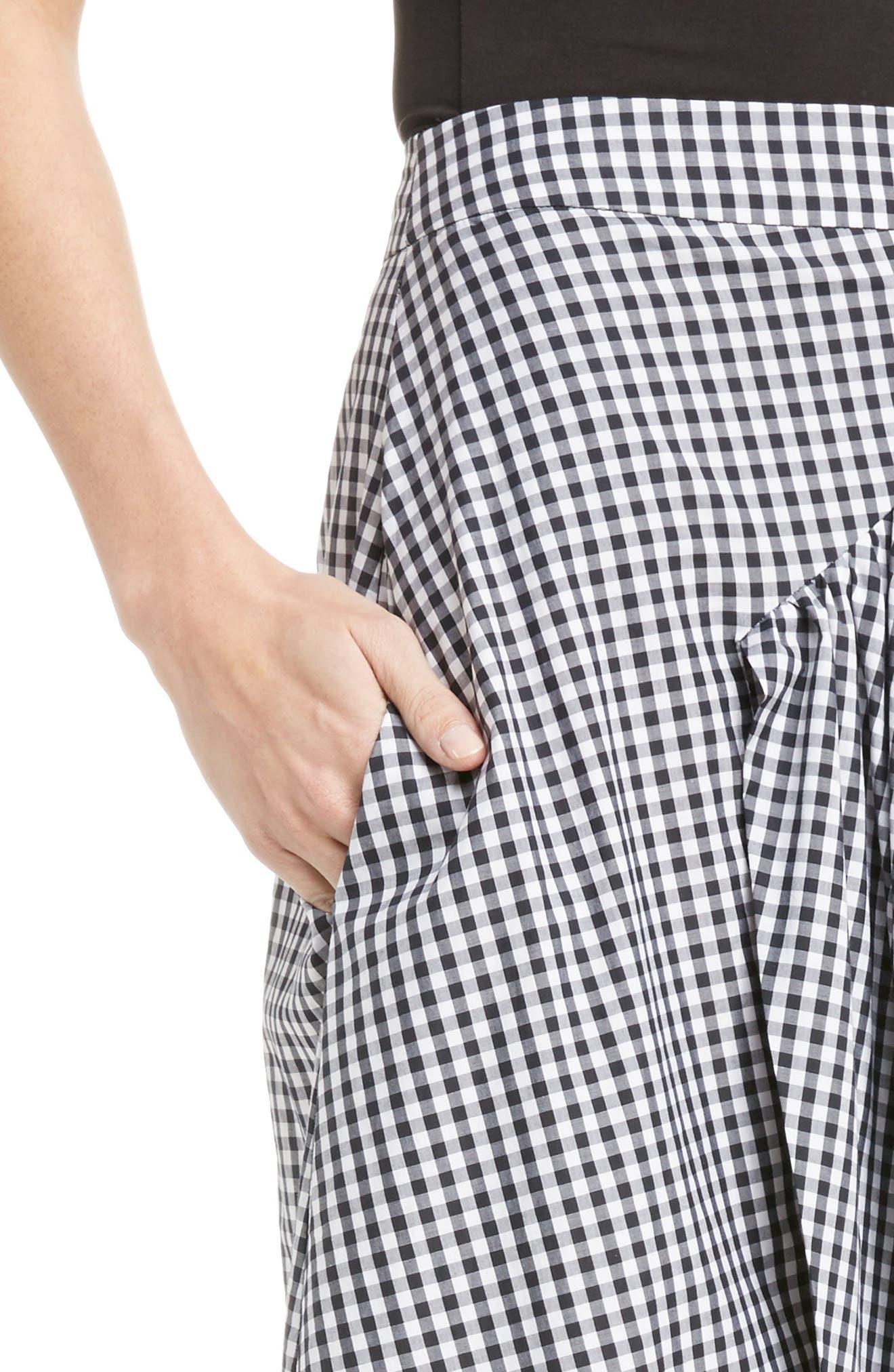 Three-Panel Gingham Midi Skirt,                             Alternate thumbnail 4, color,                             100