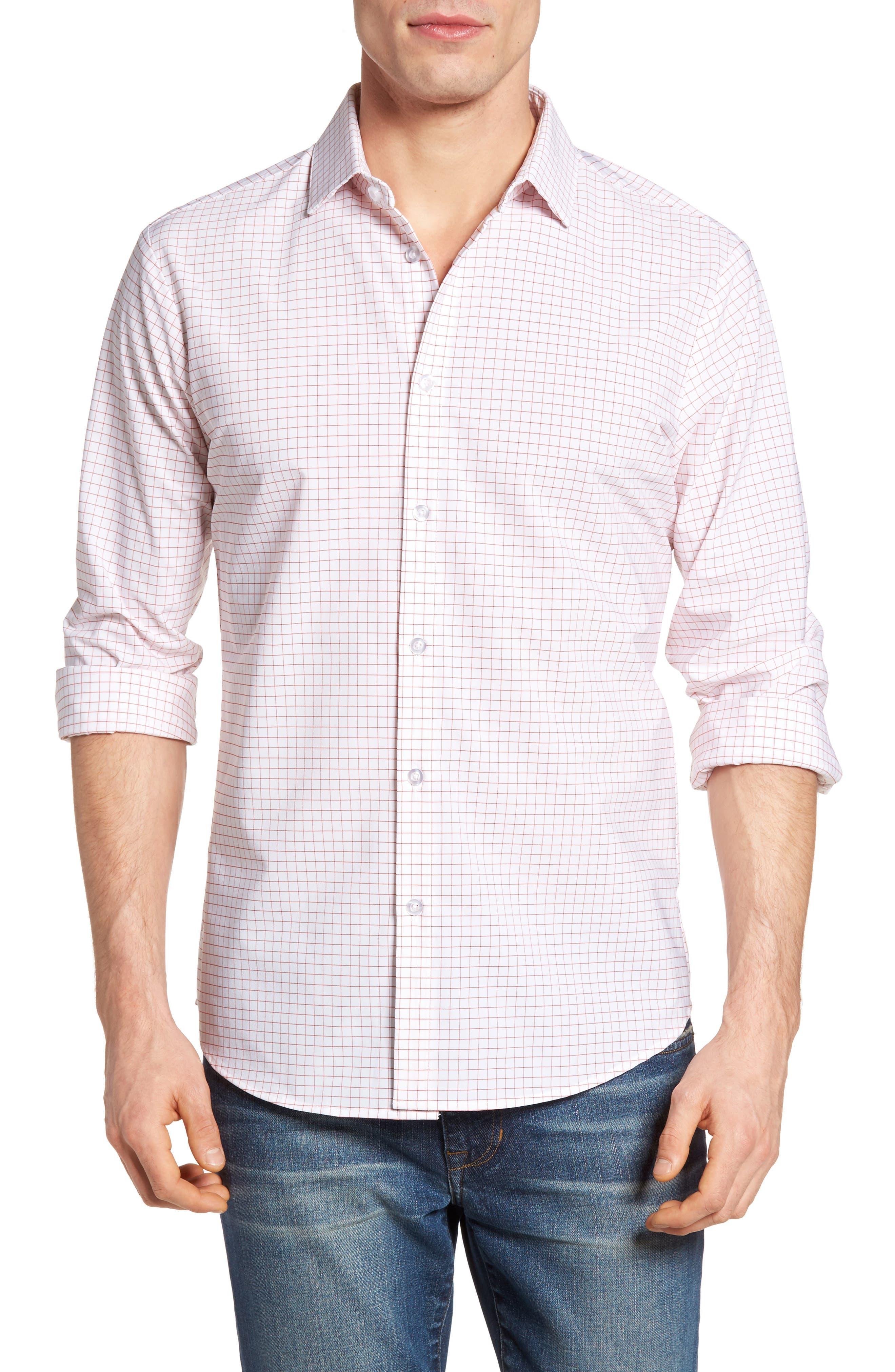 York Slim Fit Tattersall Performance Sport Shirt,                         Main,                         color, 600