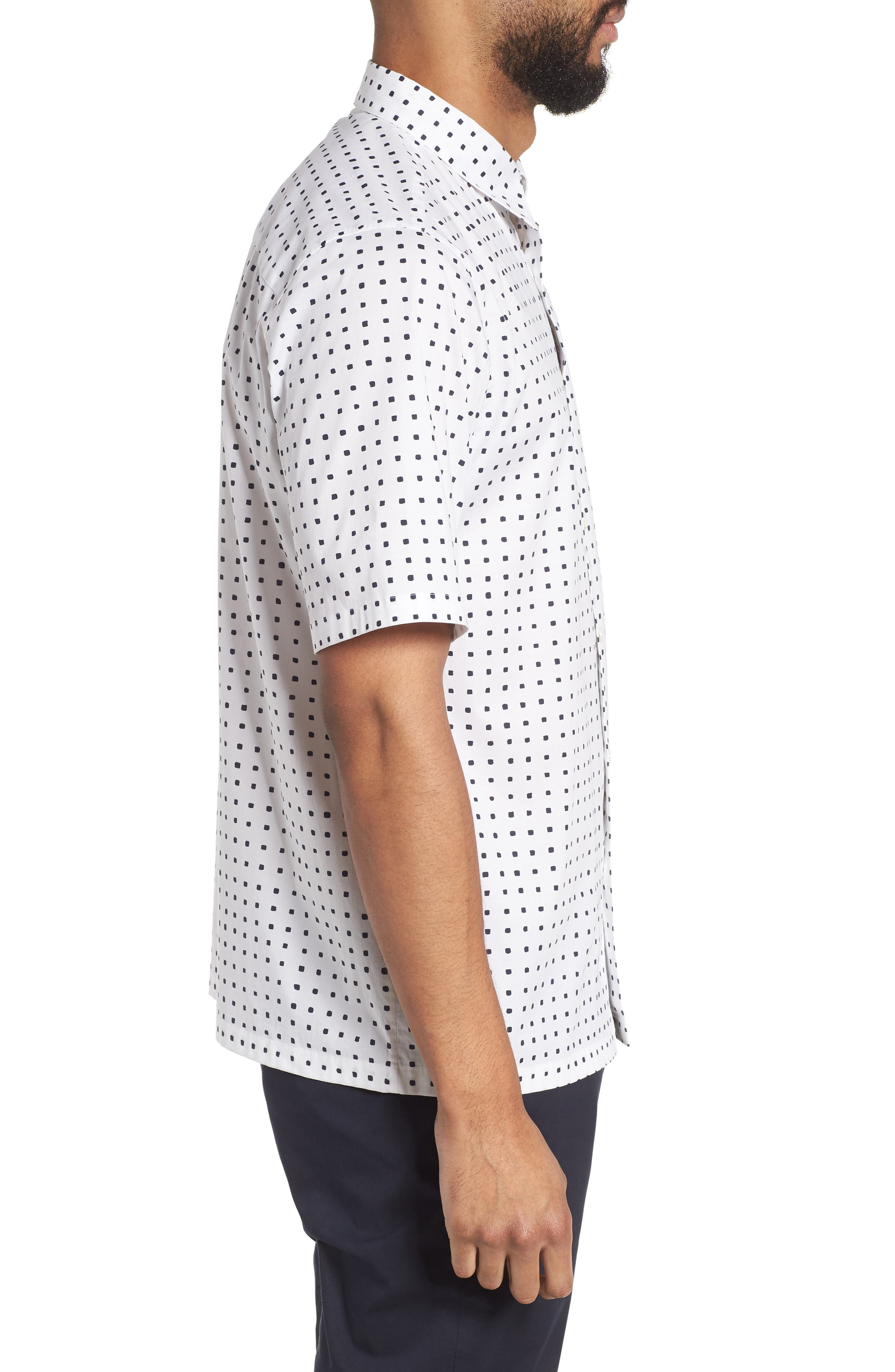 Bruner Trim Fit Dot Short Sleeve Sport Shirt,                             Alternate thumbnail 3, color,                             110