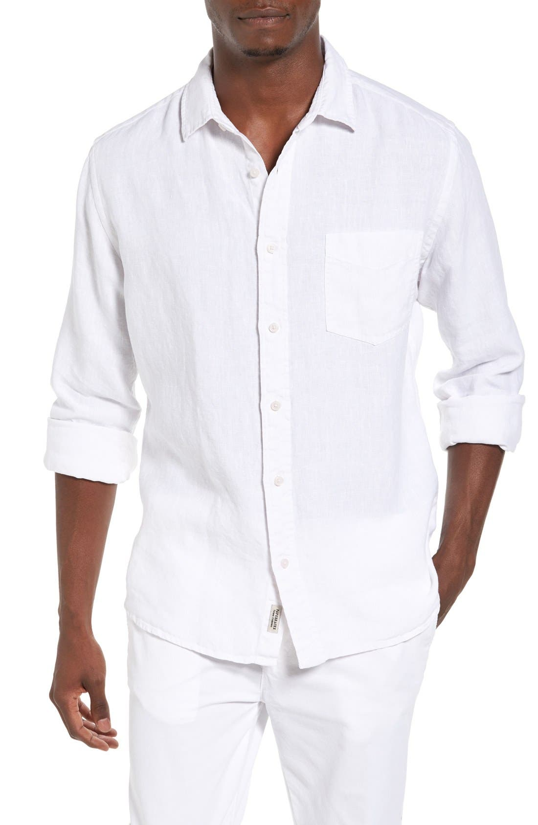 Nice Trim Fit Linen Sport Shirt,                         Main,                         color, 100