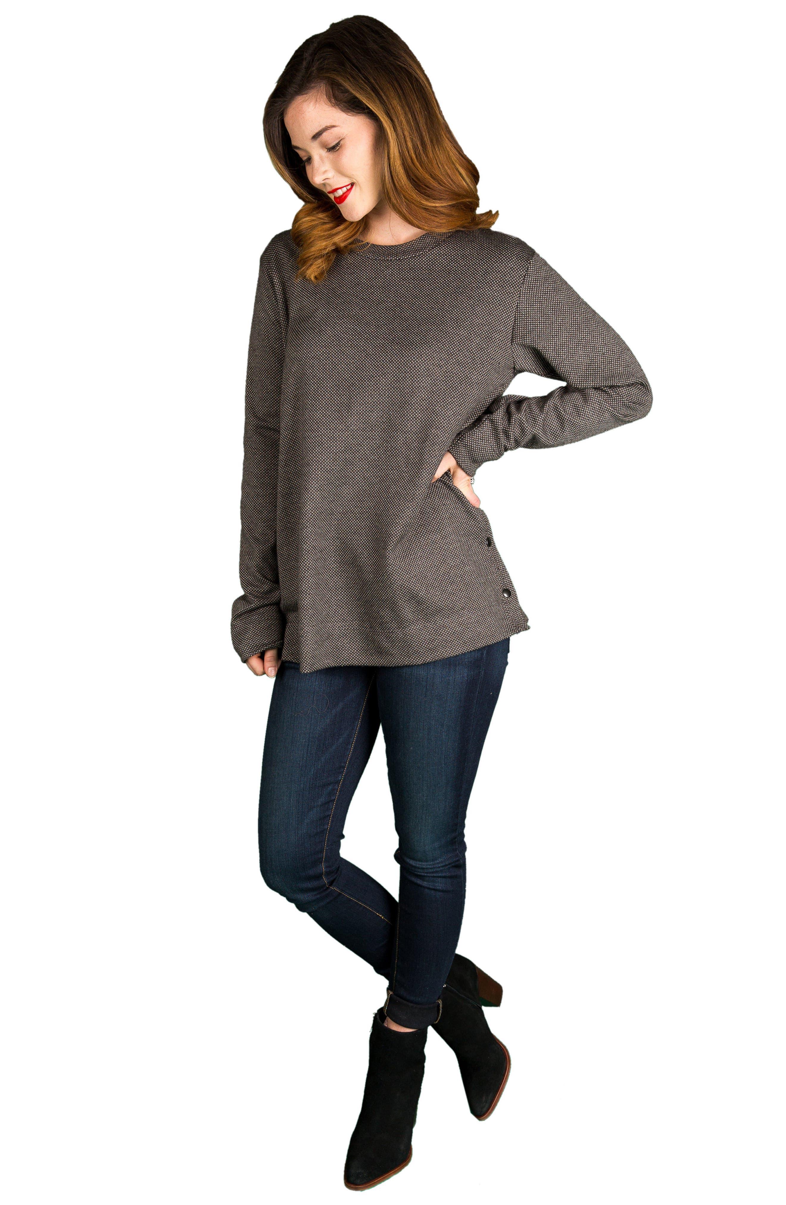 NOM MATERNITY,                             Olivia Snap Side Maternity Sweater,                             Alternate thumbnail 4, color,                             020