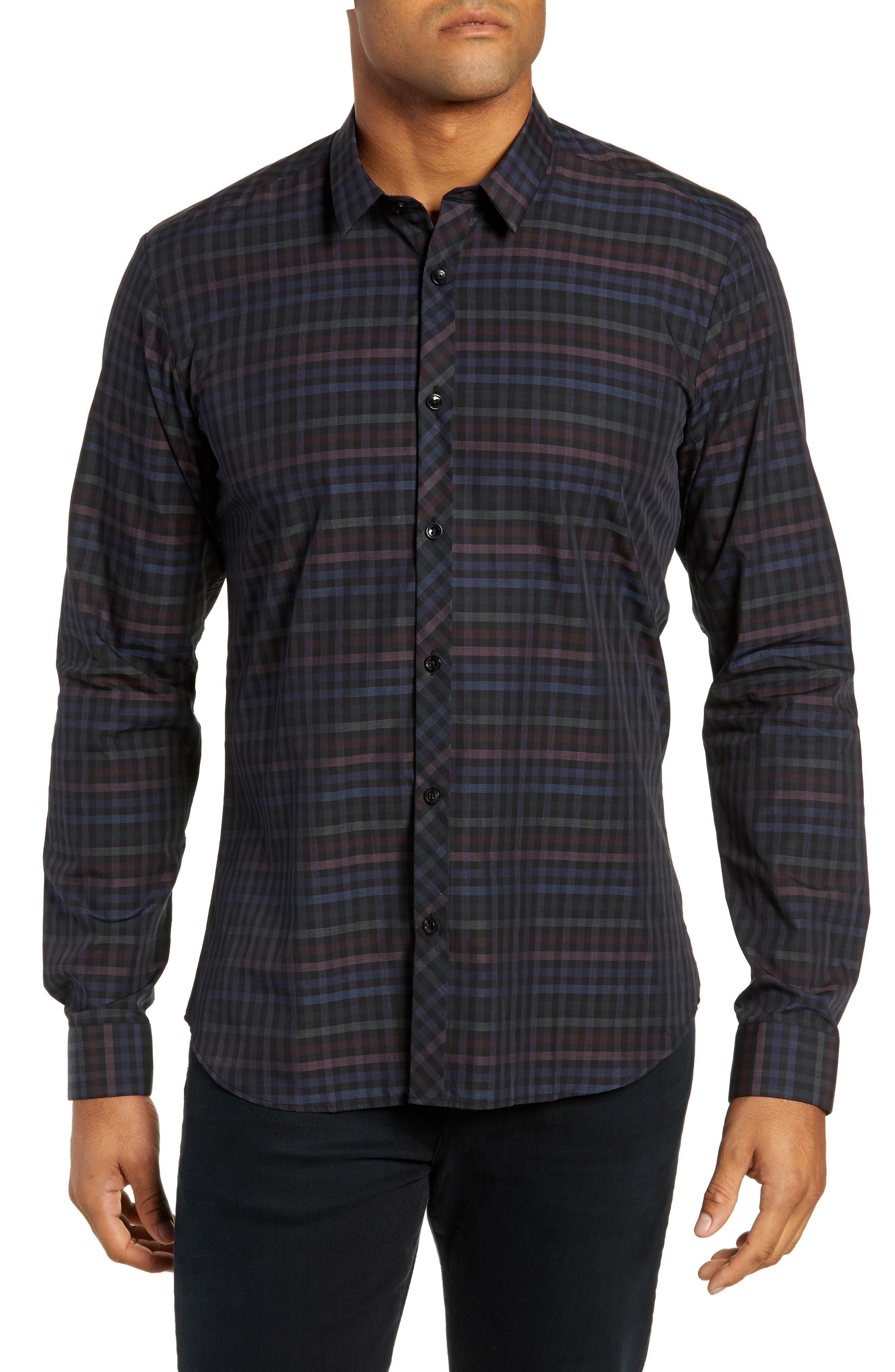 Trim Fit Sport Shirt,                         Main,                         color, MULTI CHECK