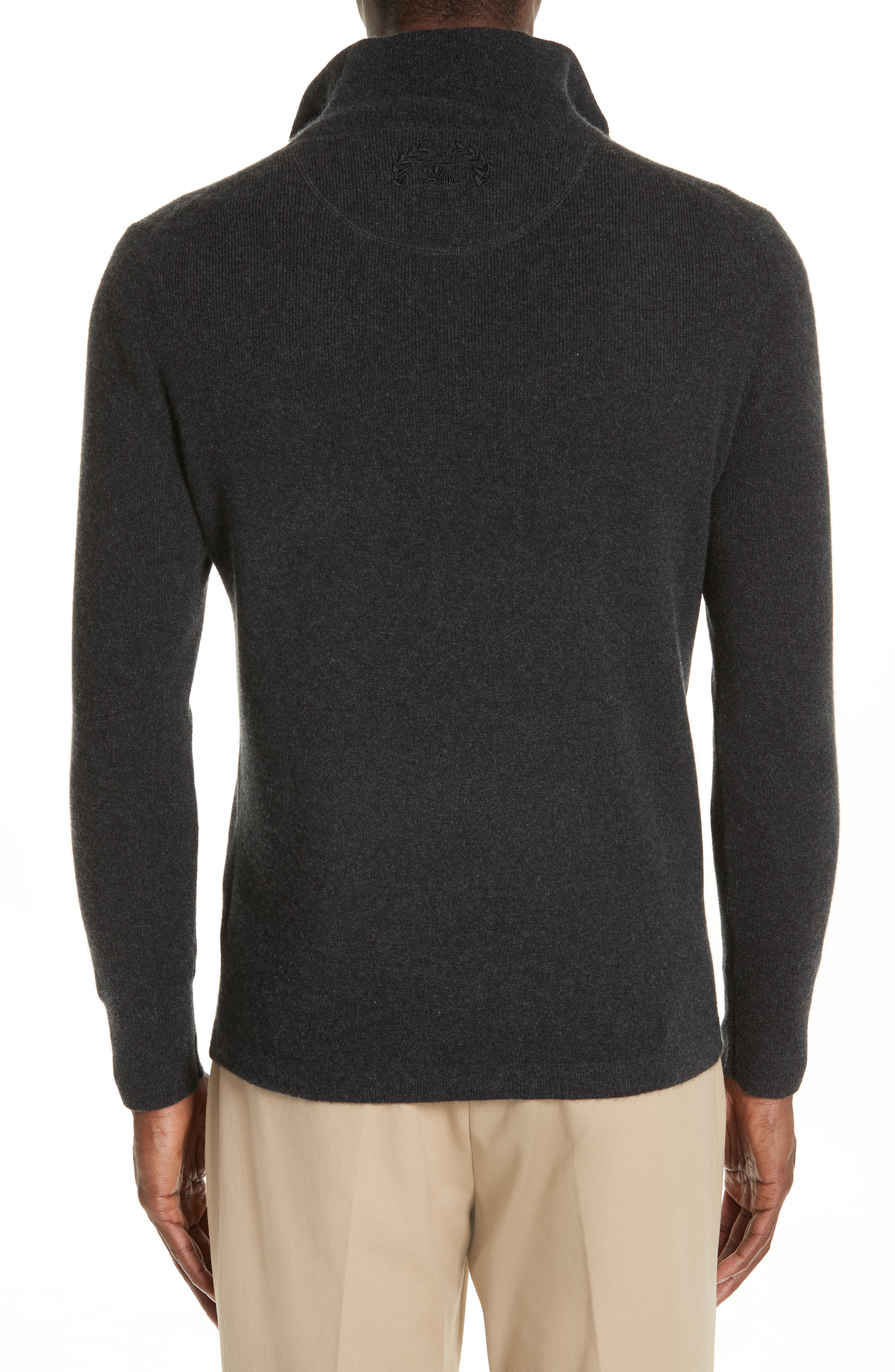 Hendon Quarter Zip Cashmere Sweater,                             Alternate thumbnail 2, color,                             CHARCOAL MELANGE