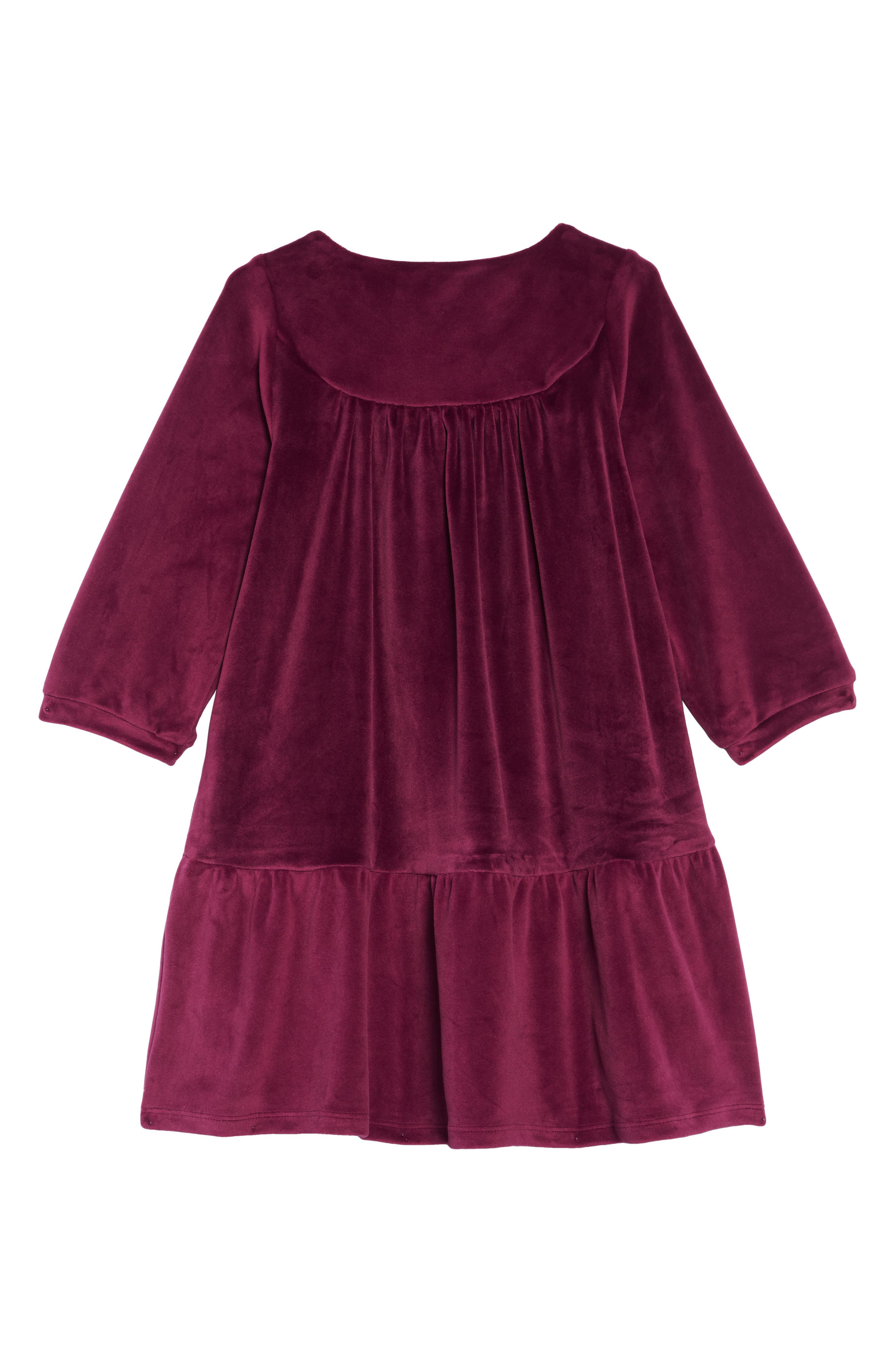 Velour Ruffle Dress,                             Alternate thumbnail 2, color,                             COSMIC BERRY