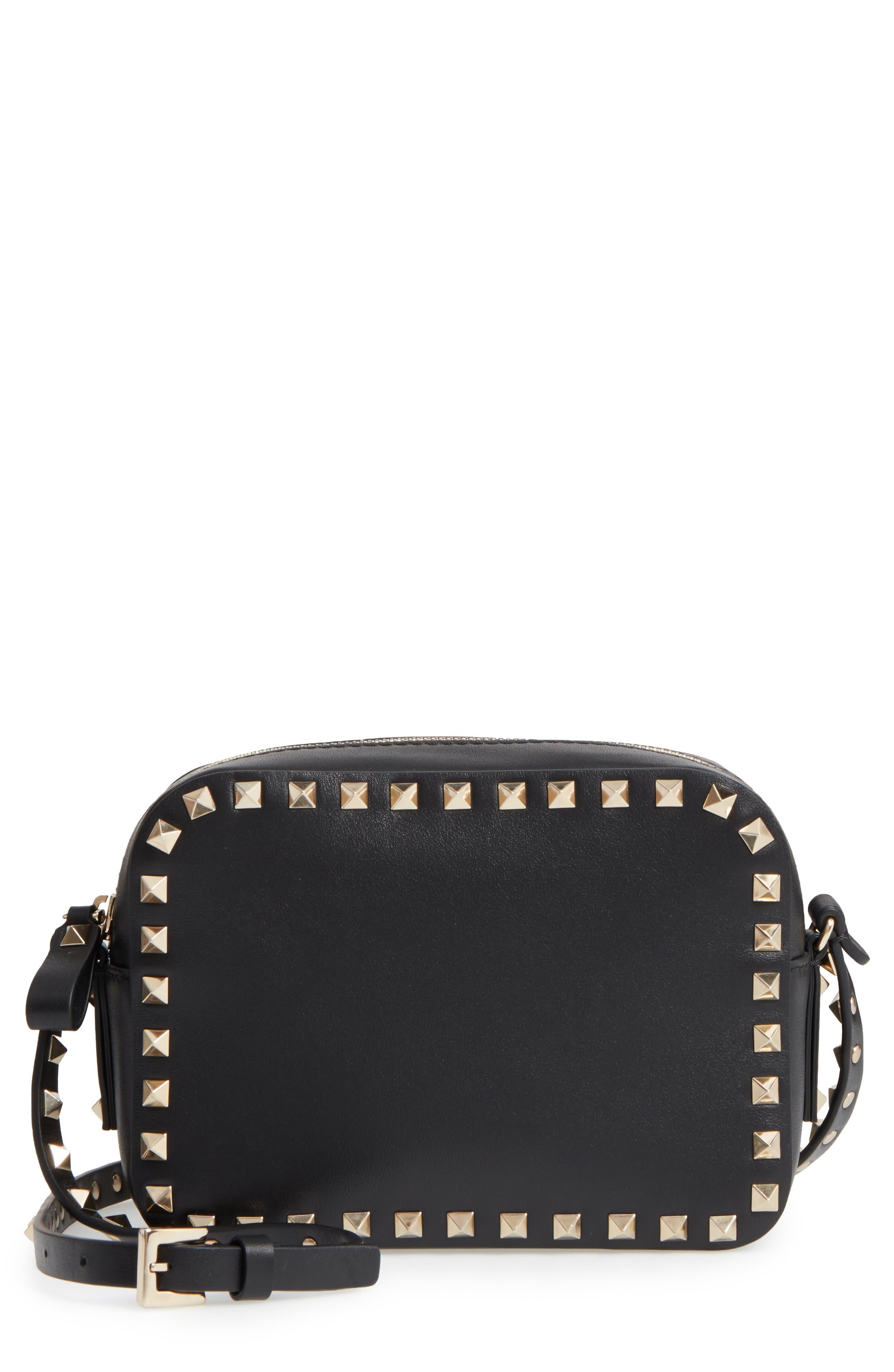 'Rockstud' Calfskin Leather Camera Crossbody Bag,                         Main,                         color, NERO