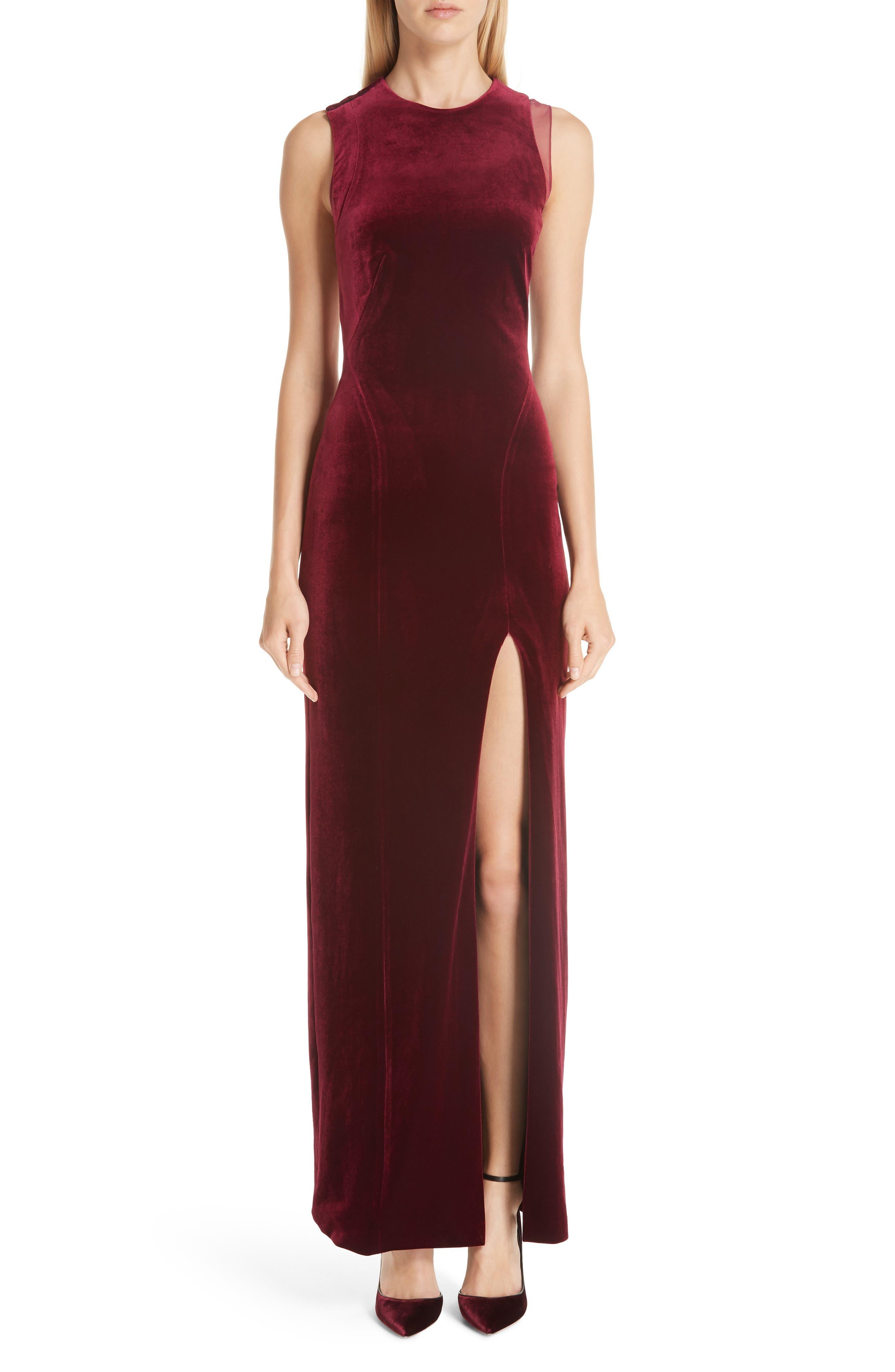 Galvan Crescent Back Cutout Gown, 4 FR - Burgundy
