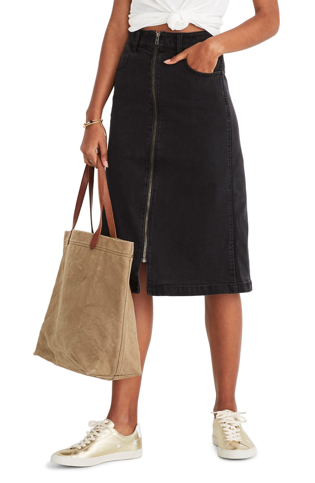 Denim Zip Midi Skirt,                             Main thumbnail 1, color,                             LUNAR WASH
