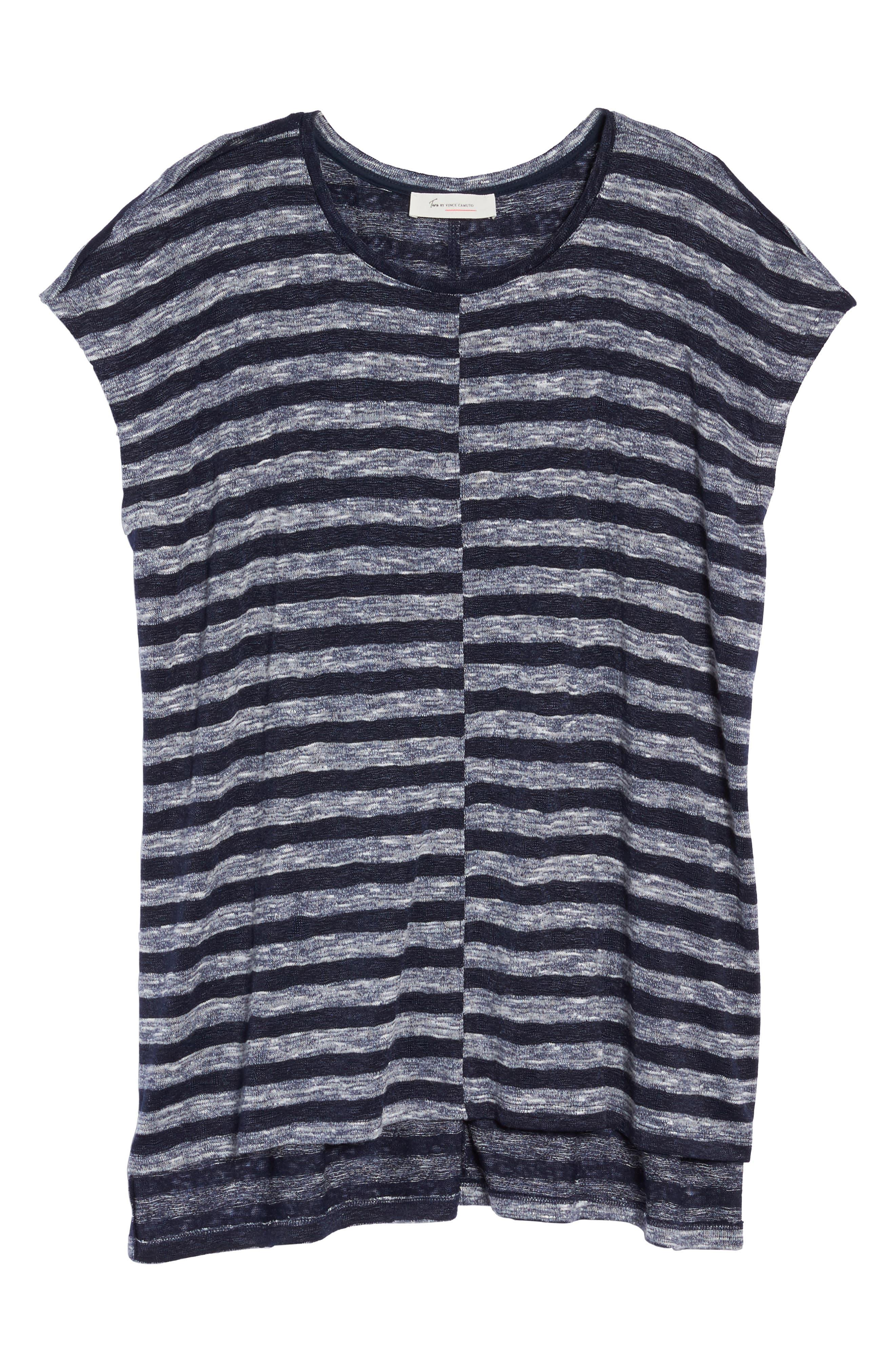 Uneven Stripe High/Low Tee,                             Alternate thumbnail 6, color,
