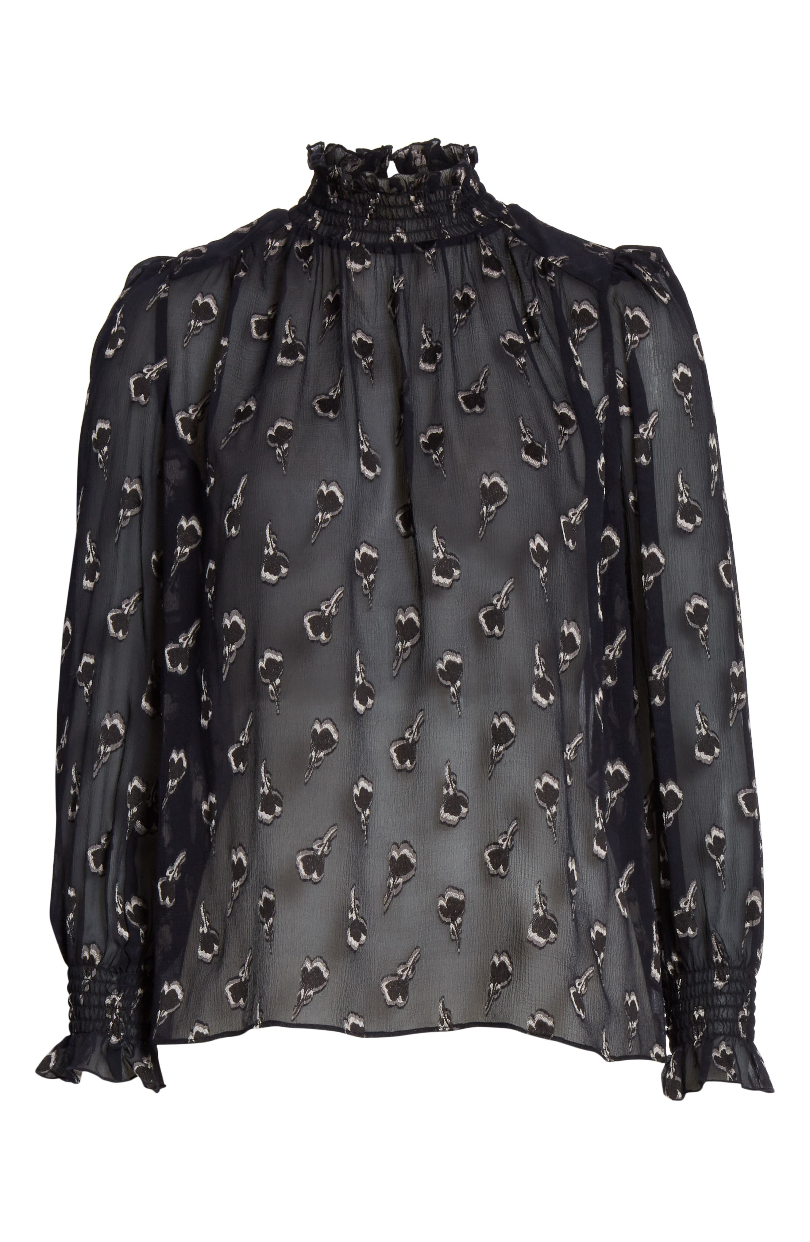 BA&SH,                             Malawi Tumbling Blossoms Silk Georgette Blouse,                             Alternate thumbnail 6, color,                             NOIR