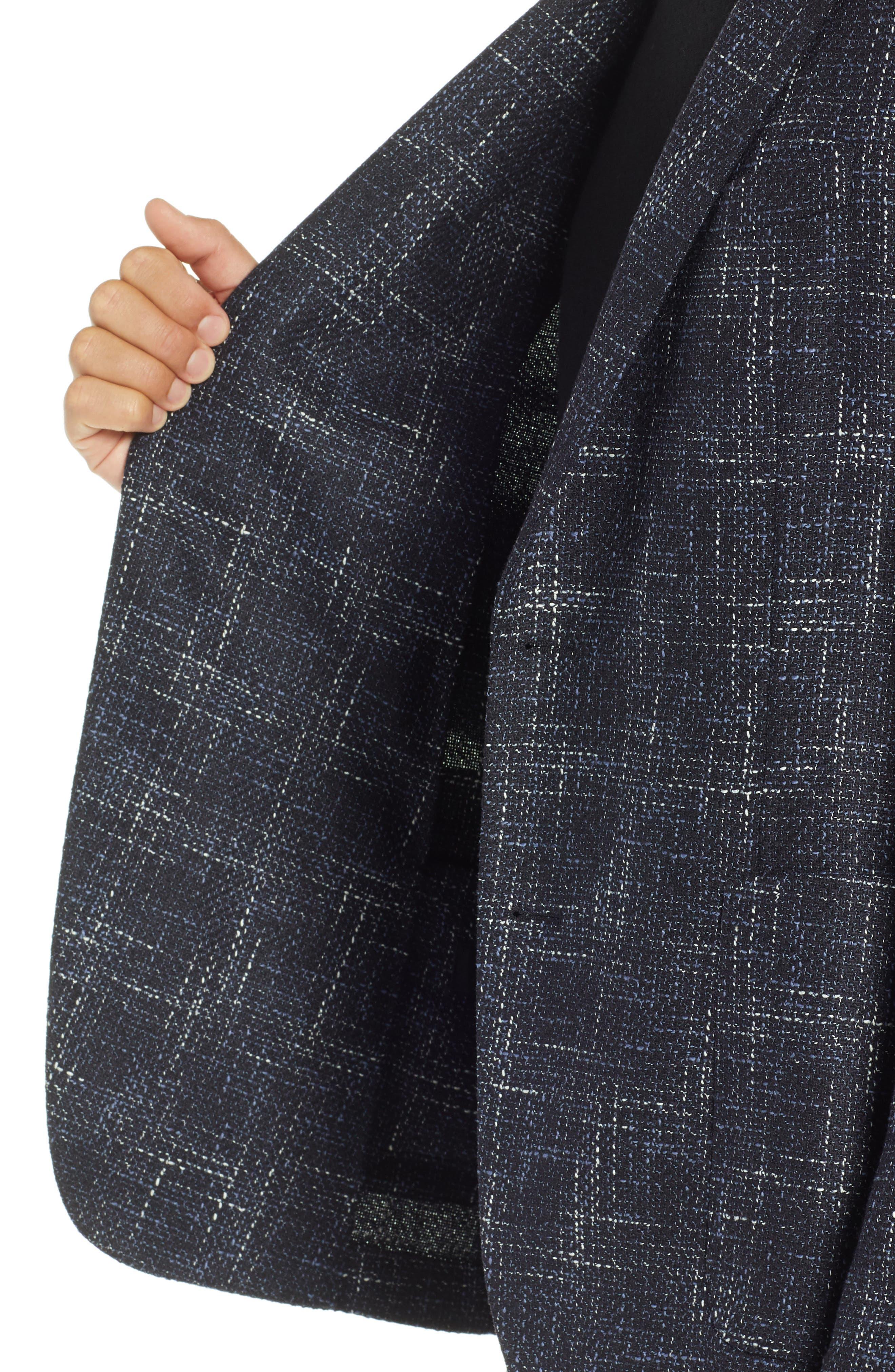 Nold Slim Fit Plaid Wool Blend Sport Coat,                             Alternate thumbnail 4, color,                             OPEN BLUE