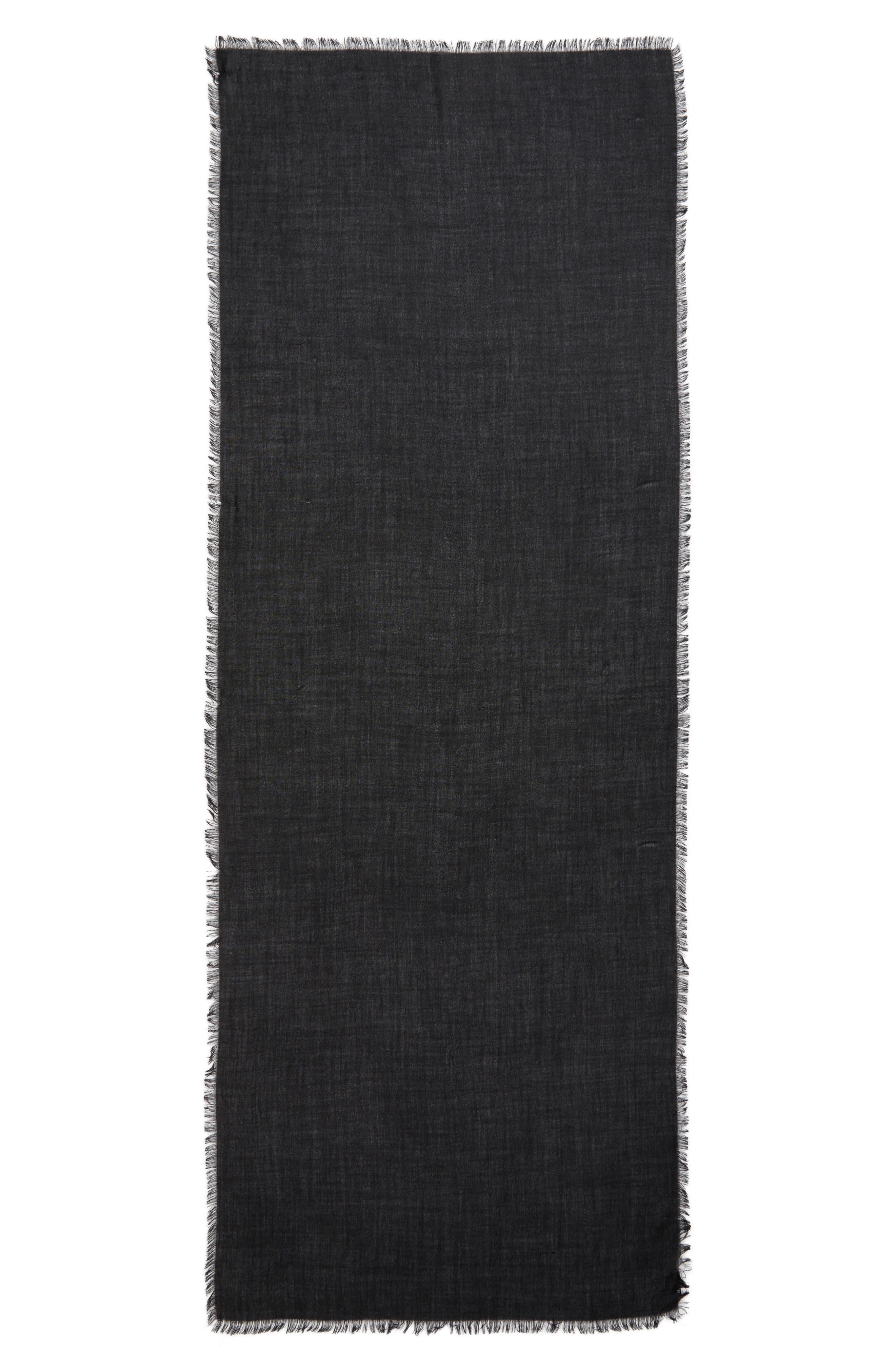 Cashmere & Silk Wrap,                             Alternate thumbnail 3, color,                             BLACK