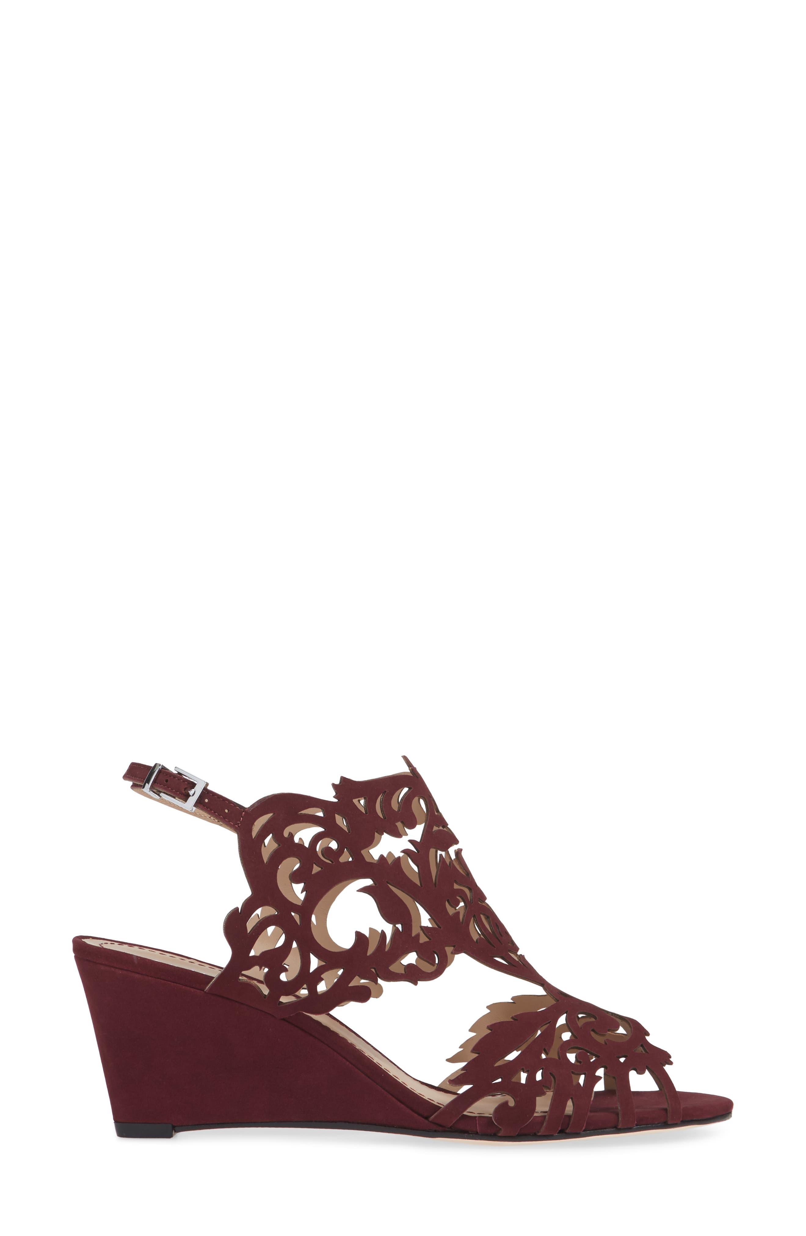 Marcela Laser Cutout Wedge Sandal,                             Alternate thumbnail 3, color,                             WINE LEATHER