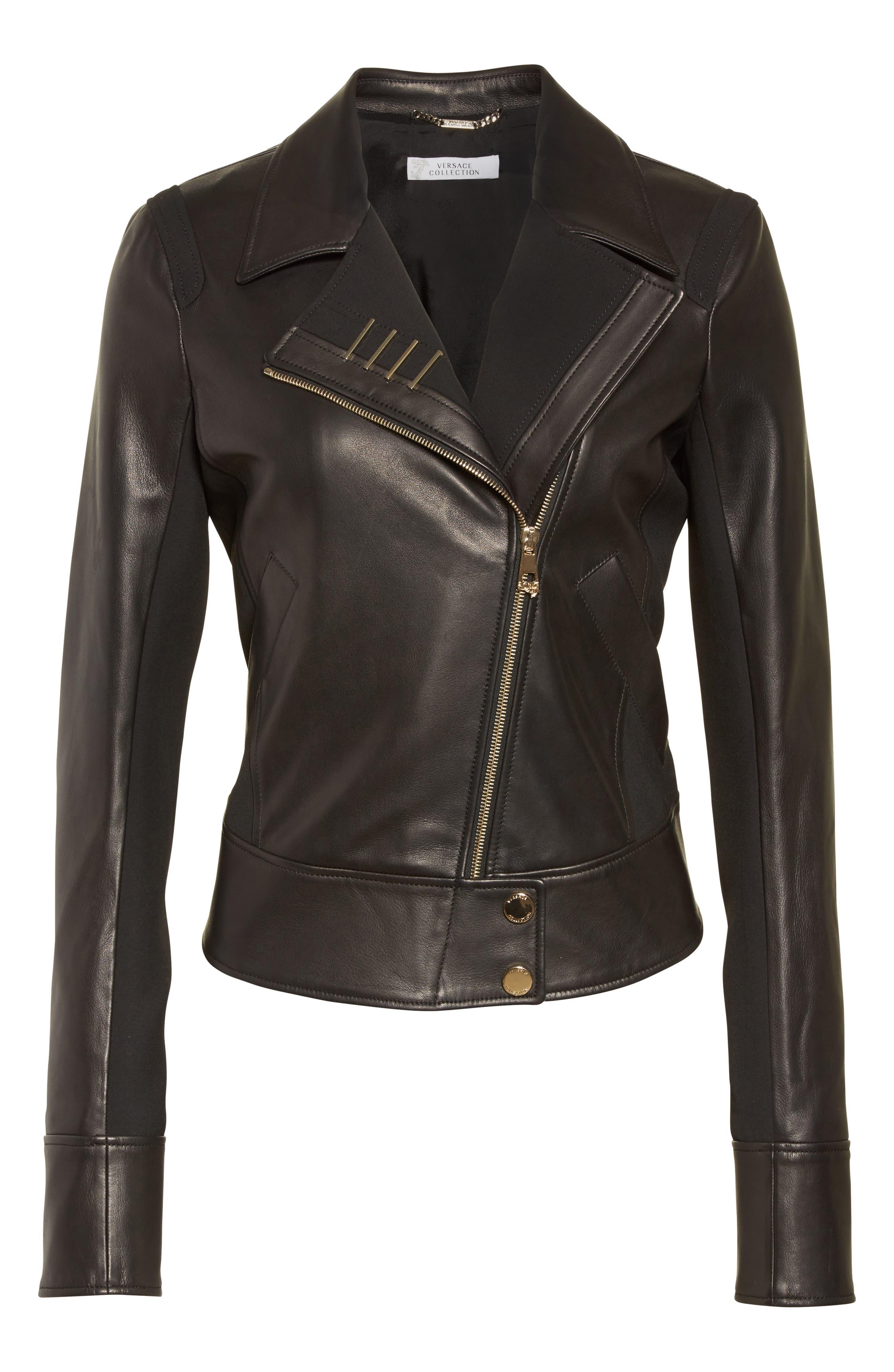 Asymmetrical Zip Leather Jacket,                             Alternate thumbnail 5, color,                             001