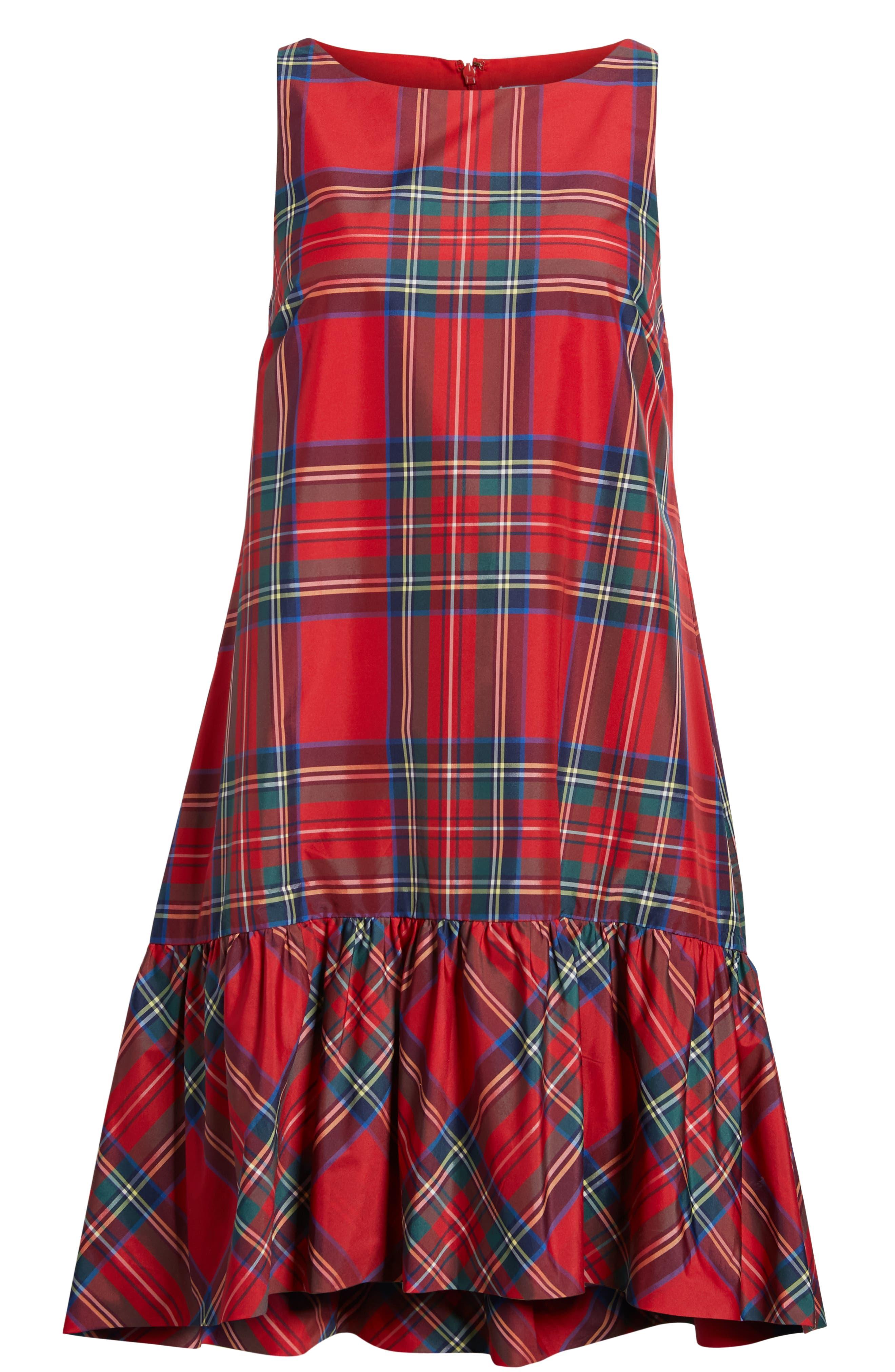 Amelia Jolly Plaid Swing Dress,                             Alternate thumbnail 7, color,                             CALYPSO RED