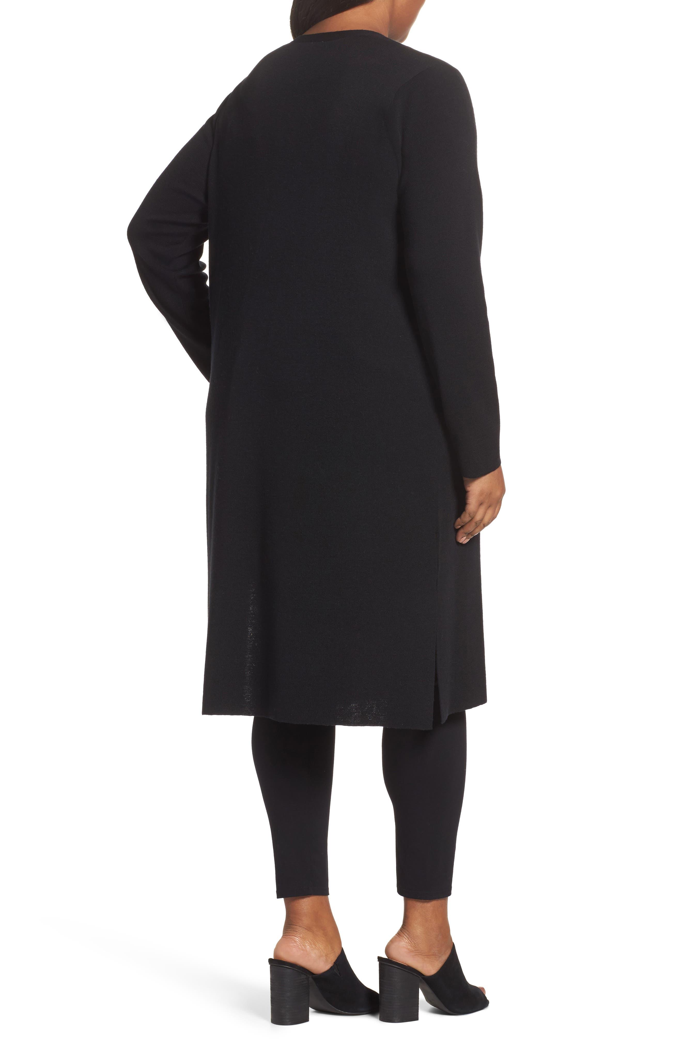 Long Merino Wool Cardigan,                             Alternate thumbnail 2, color,                             001
