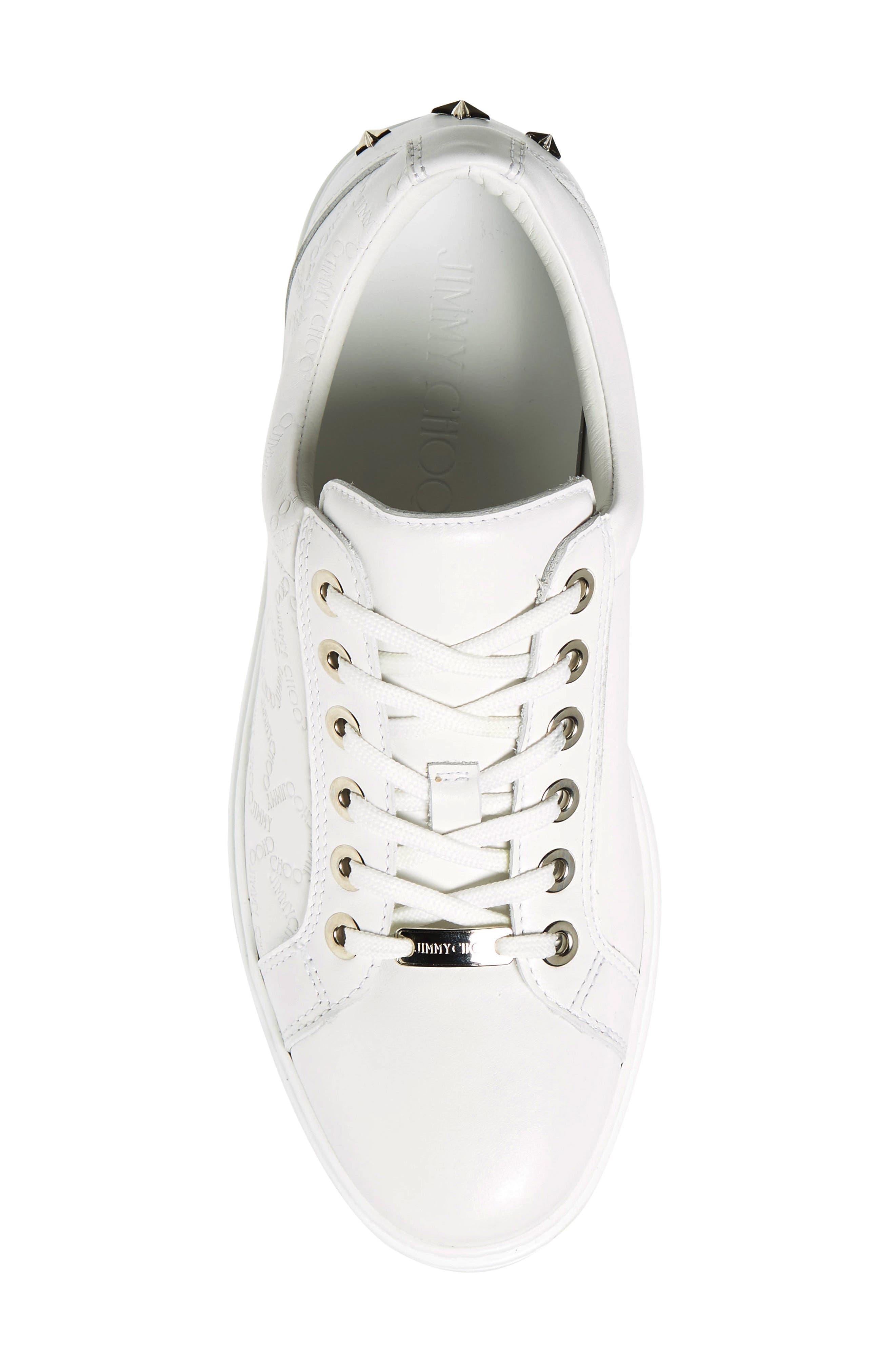 JIMMY CHOO,                             Cash Star Sneaker,                             Alternate thumbnail 5, color,                             WHITE