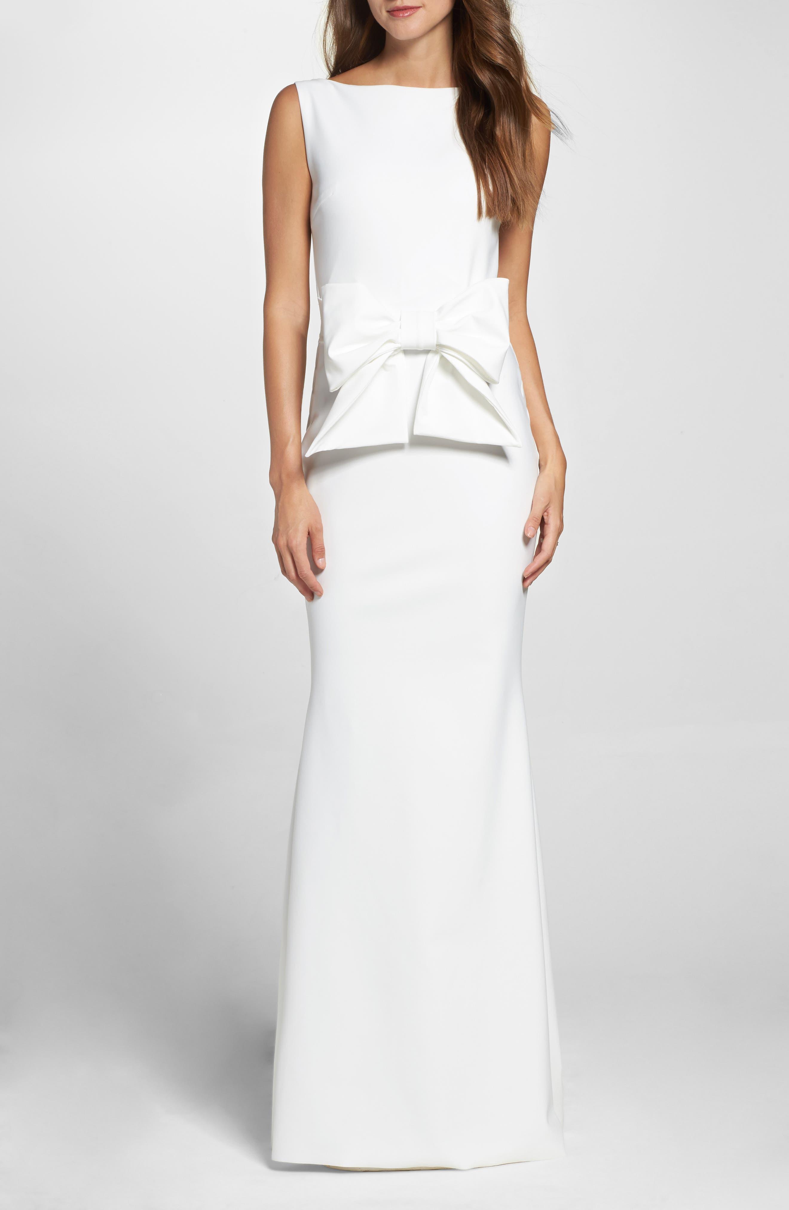 CHIARA BONI LA PETITE ROBE Bow Detail Sleeveless Gown, Main, color, 100