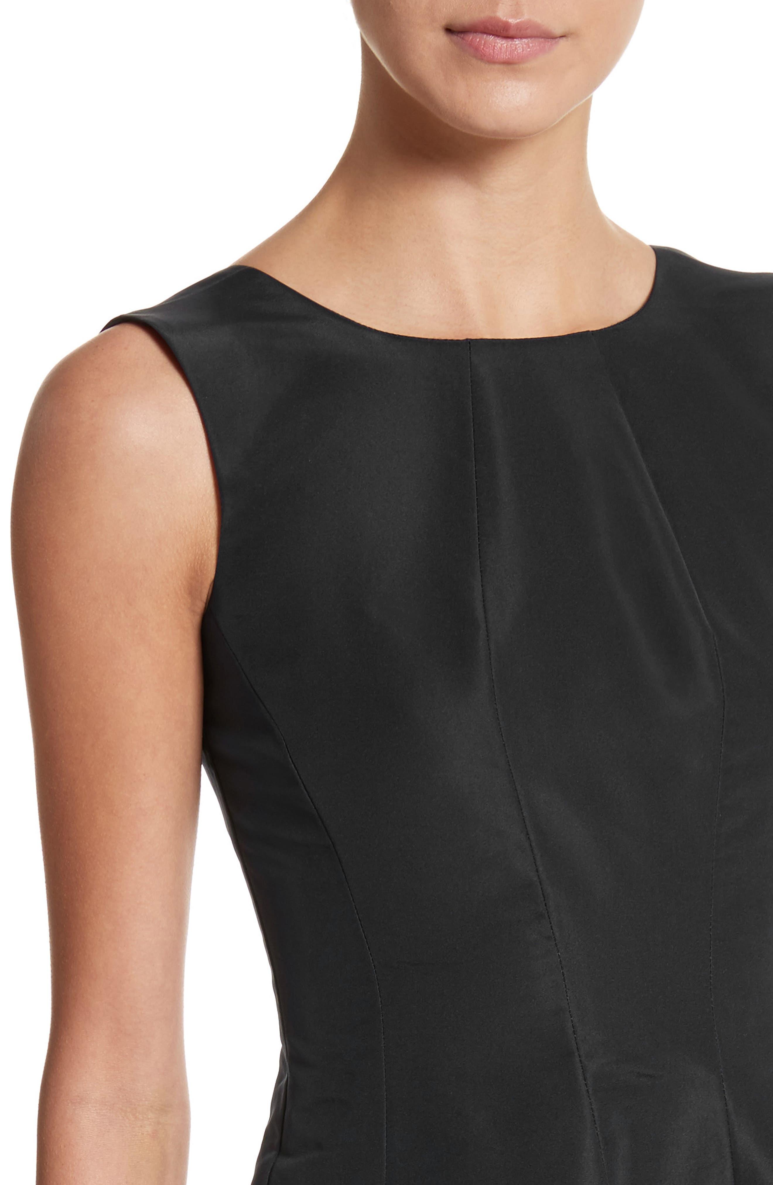 Scoop Back Pleat Silk Faille Dress,                             Alternate thumbnail 4, color,                             001