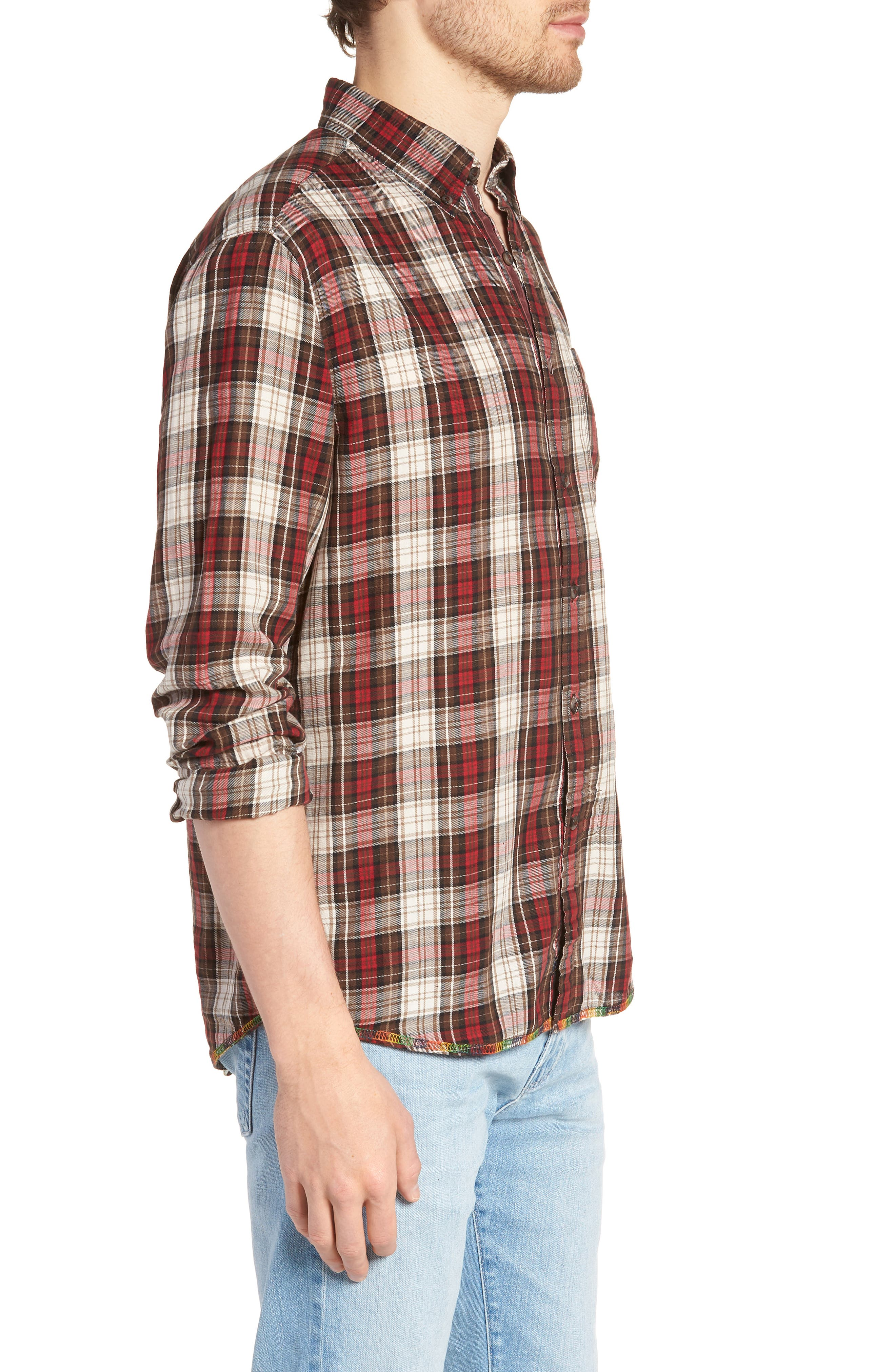 Featherweight Twill Sport Shirt,                             Alternate thumbnail 3, color,                             BROWN