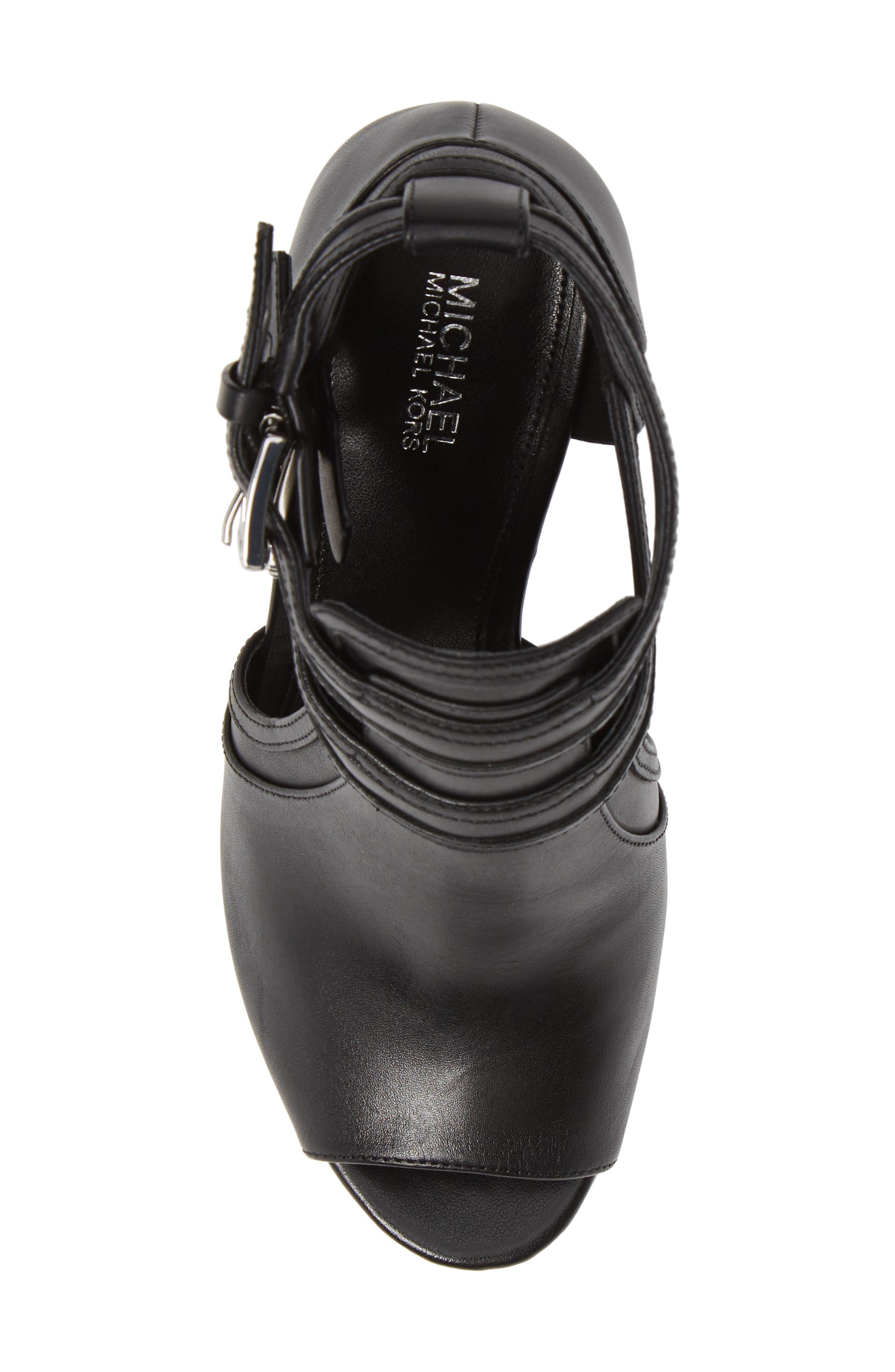 Blaze Wedge Sandal,                             Alternate thumbnail 5, color,                             BLACK VACHETTA LEATHER