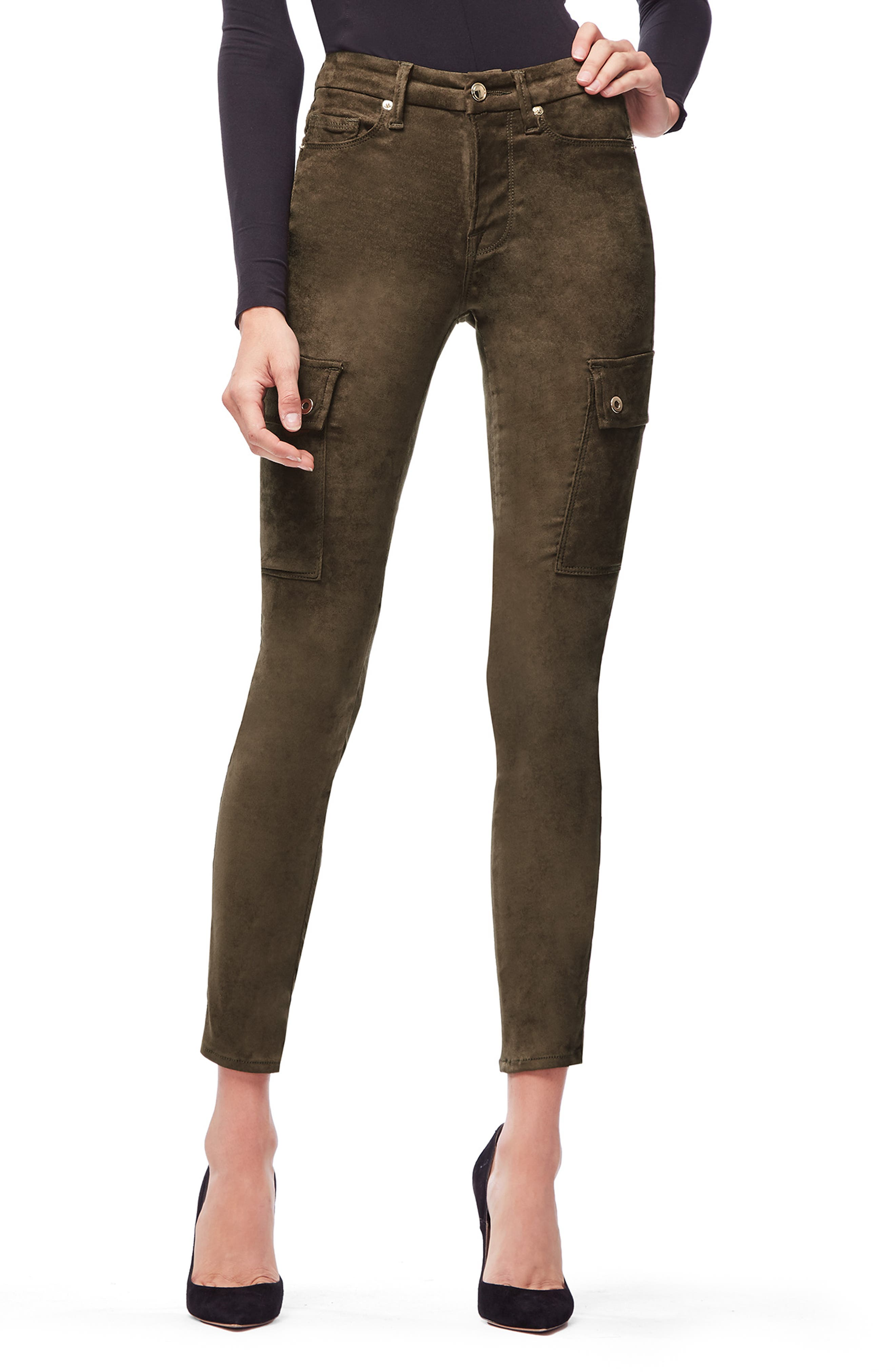 Plus Size Good American Good Legs Crop Cargo Pants, Green