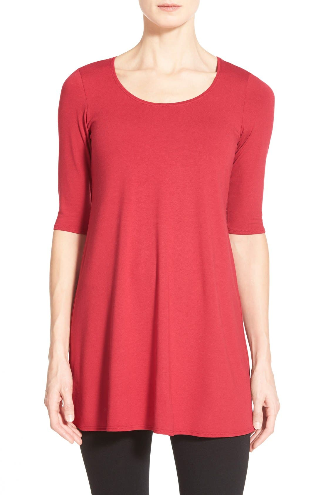 Scoop Neck Elbow Sleeve Jersey Tunic,                             Main thumbnail 18, color,