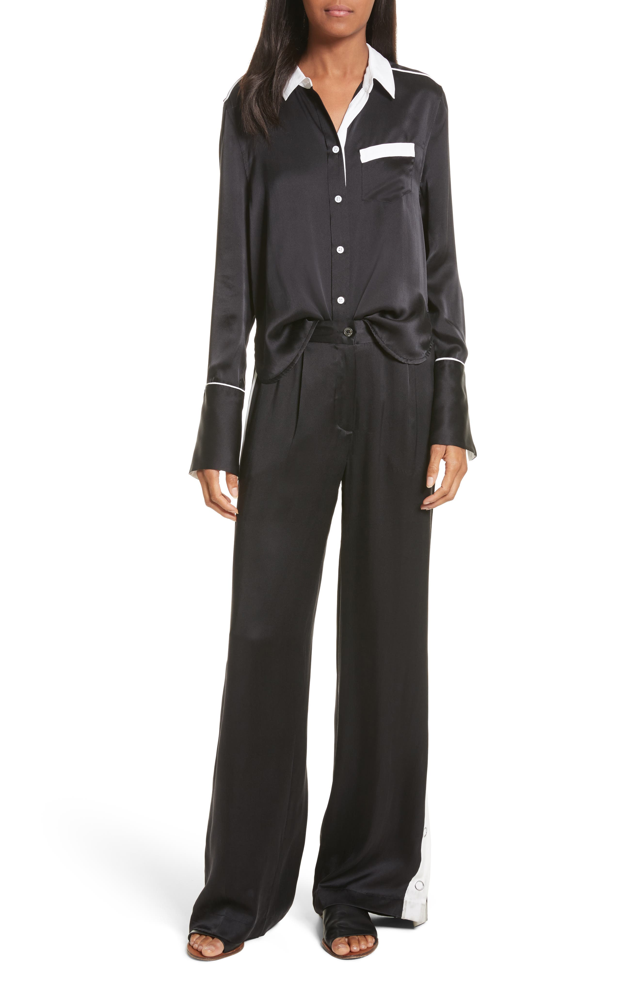 EQUIPMENT,                             Huntley Contrast Silk Shirt,                             Alternate thumbnail 7, color,                             003
