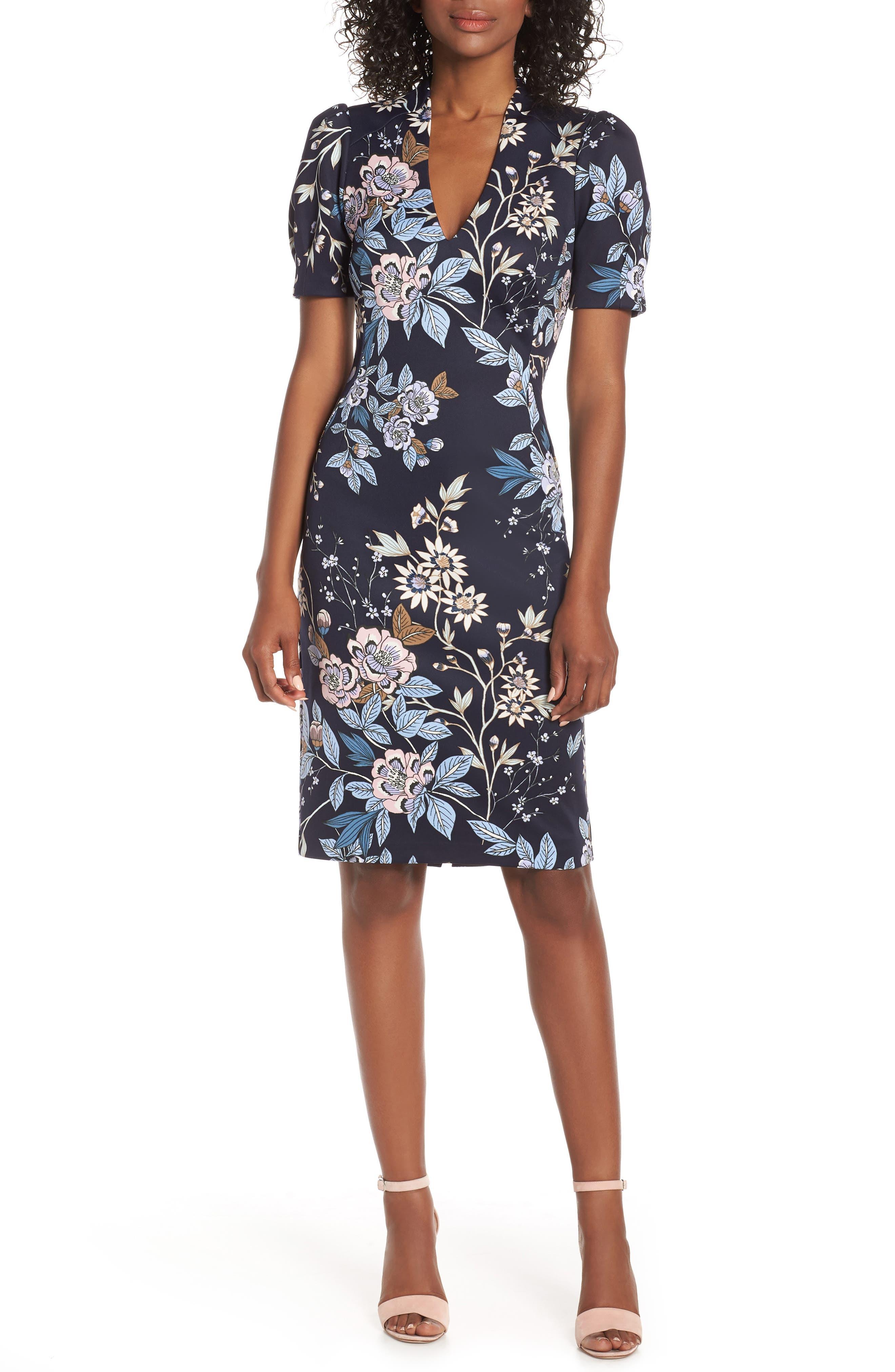 Vince Camuto Floral Print Scuba Crepe Sheath Dress