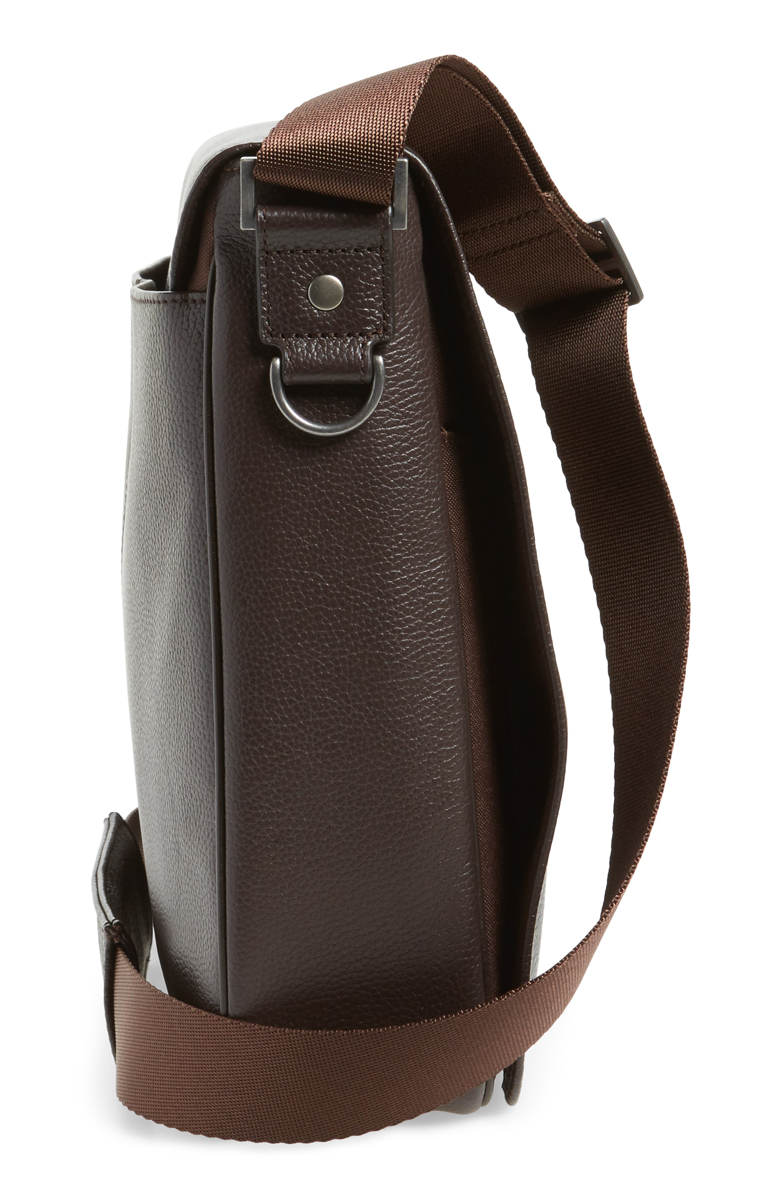 Midland Leather Messenger Bag,                             Alternate thumbnail 5, color,                             BROWN