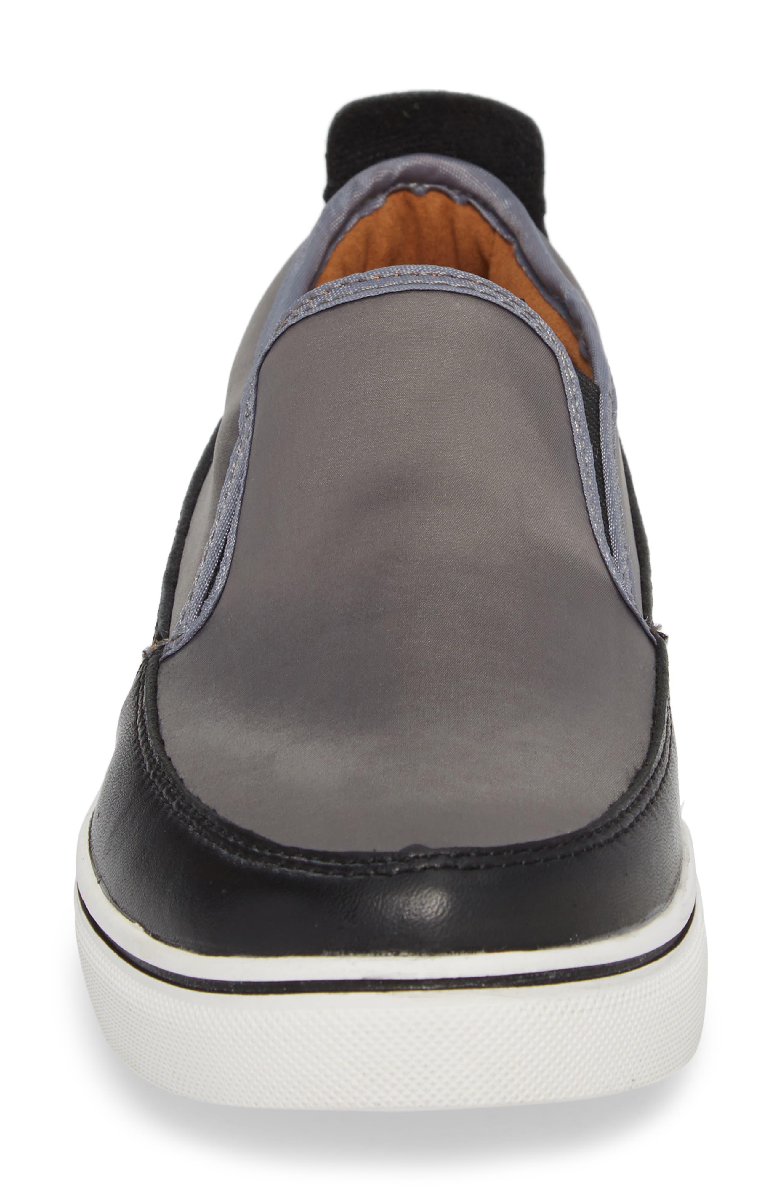 Double Gore Sneaker,                             Alternate thumbnail 4, color,                             GREY SATIN