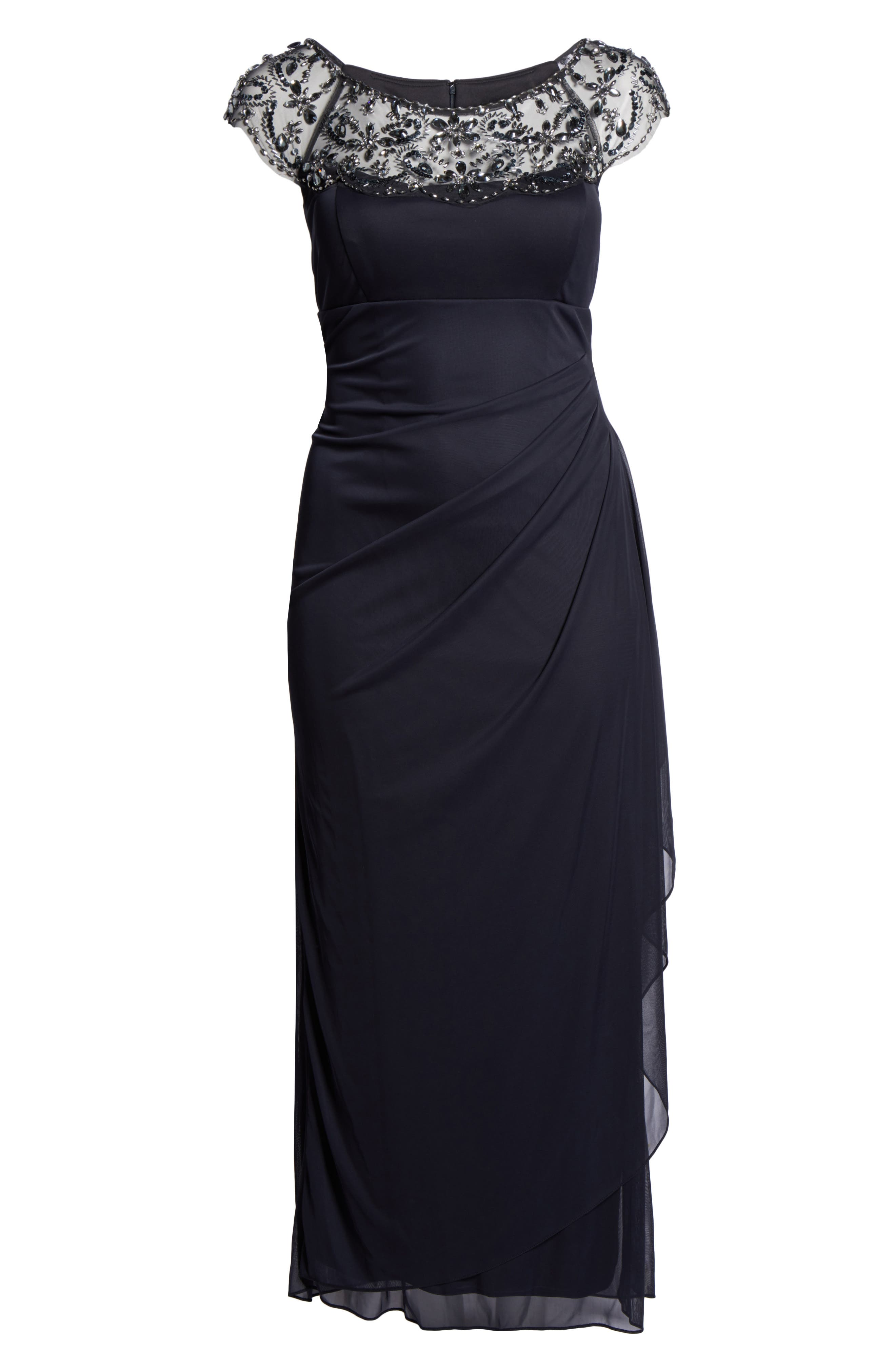 Embellished Jersey Gown,                             Alternate thumbnail 6, color,                             021