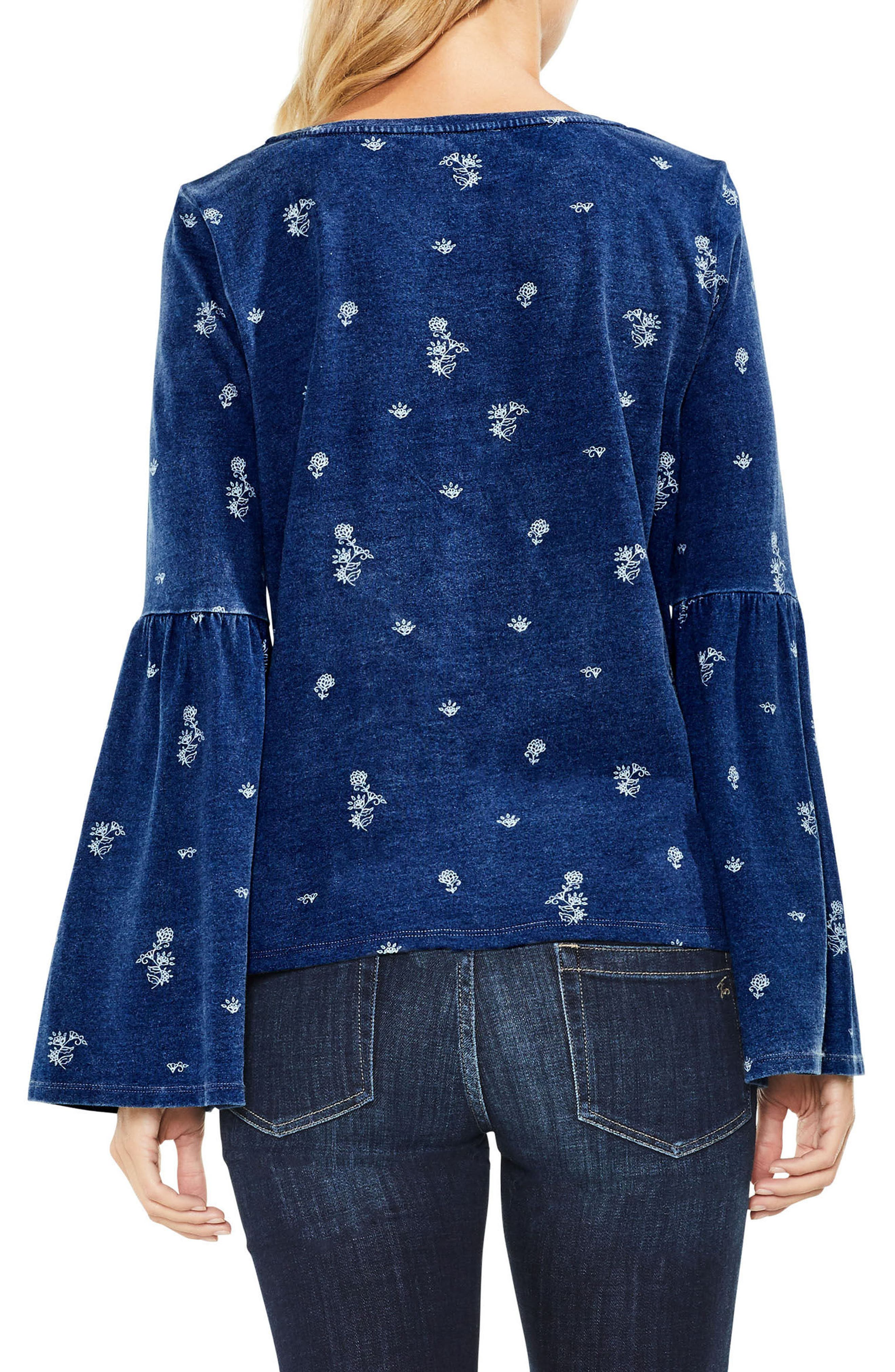 Delicate Ditsy Bell Sleeve Top,                             Alternate thumbnail 2, color,                             412