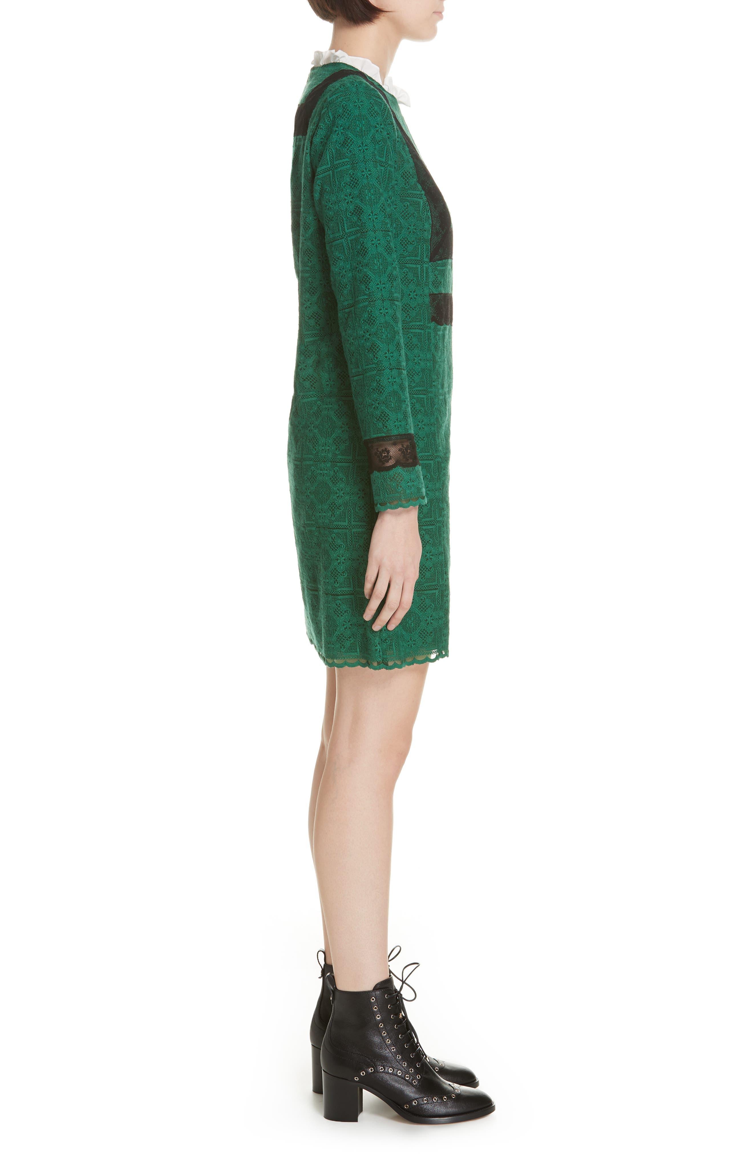 Dylan Frill Neck Lace Dress,                             Alternate thumbnail 3, color,                             VERT