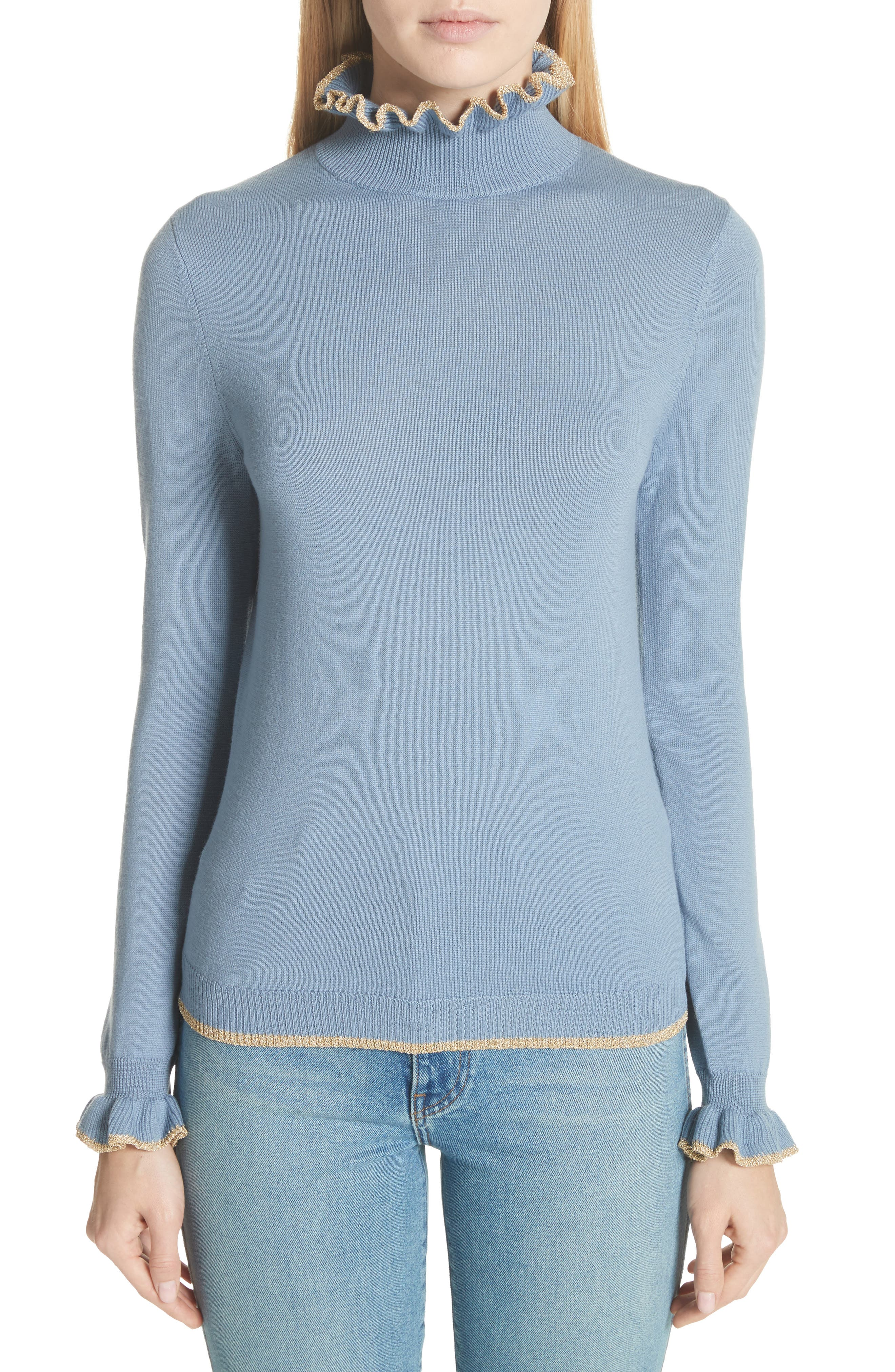 Norah Frill Neck Wool Sweater,                         Main,                         color, 400
