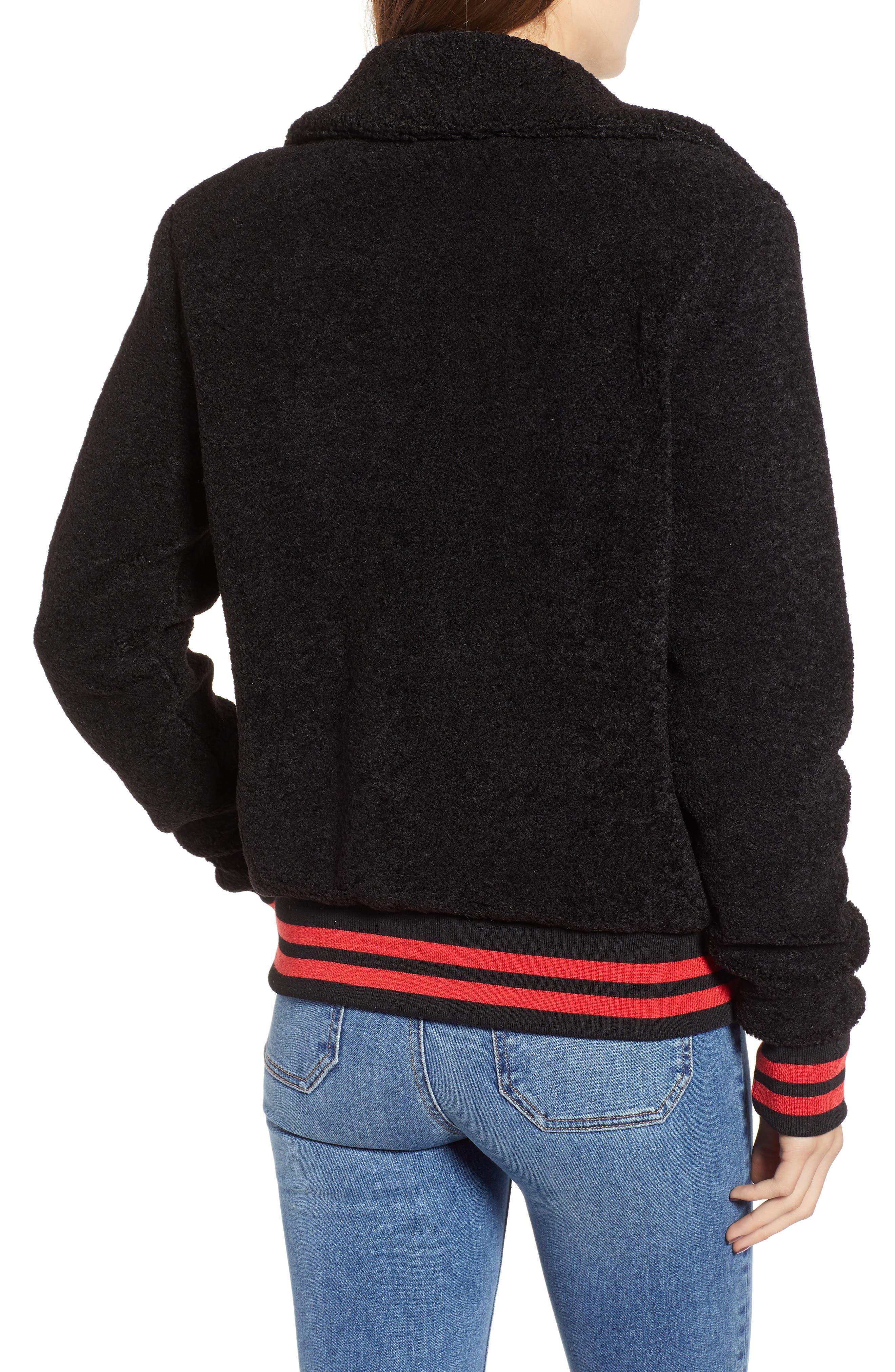 Gray Faux Fur Track Jacket,                             Alternate thumbnail 2, color,                             BLACK CAT