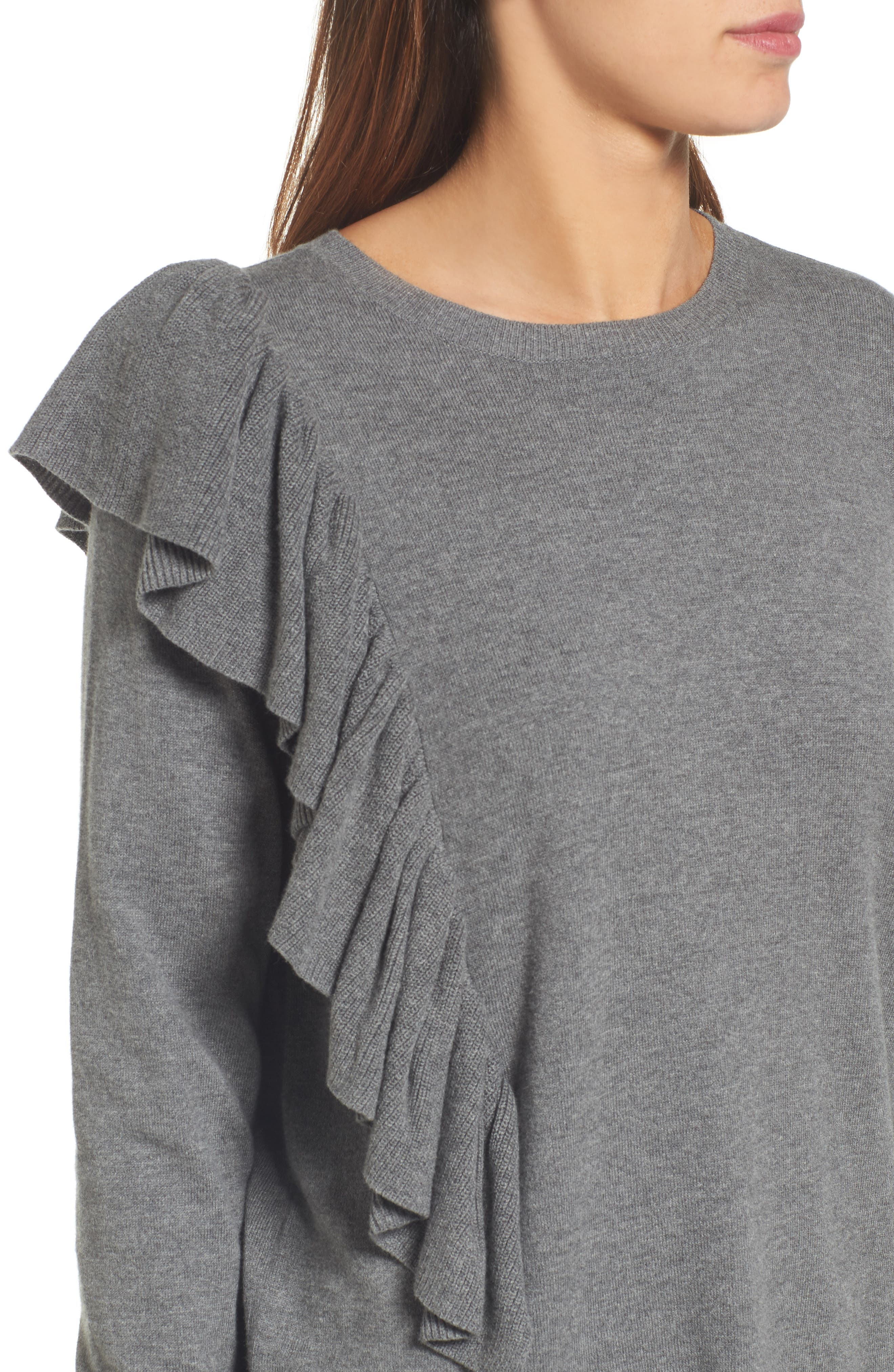 Asymmetrical Ruffle Sweater,                             Alternate thumbnail 4, color,                             030