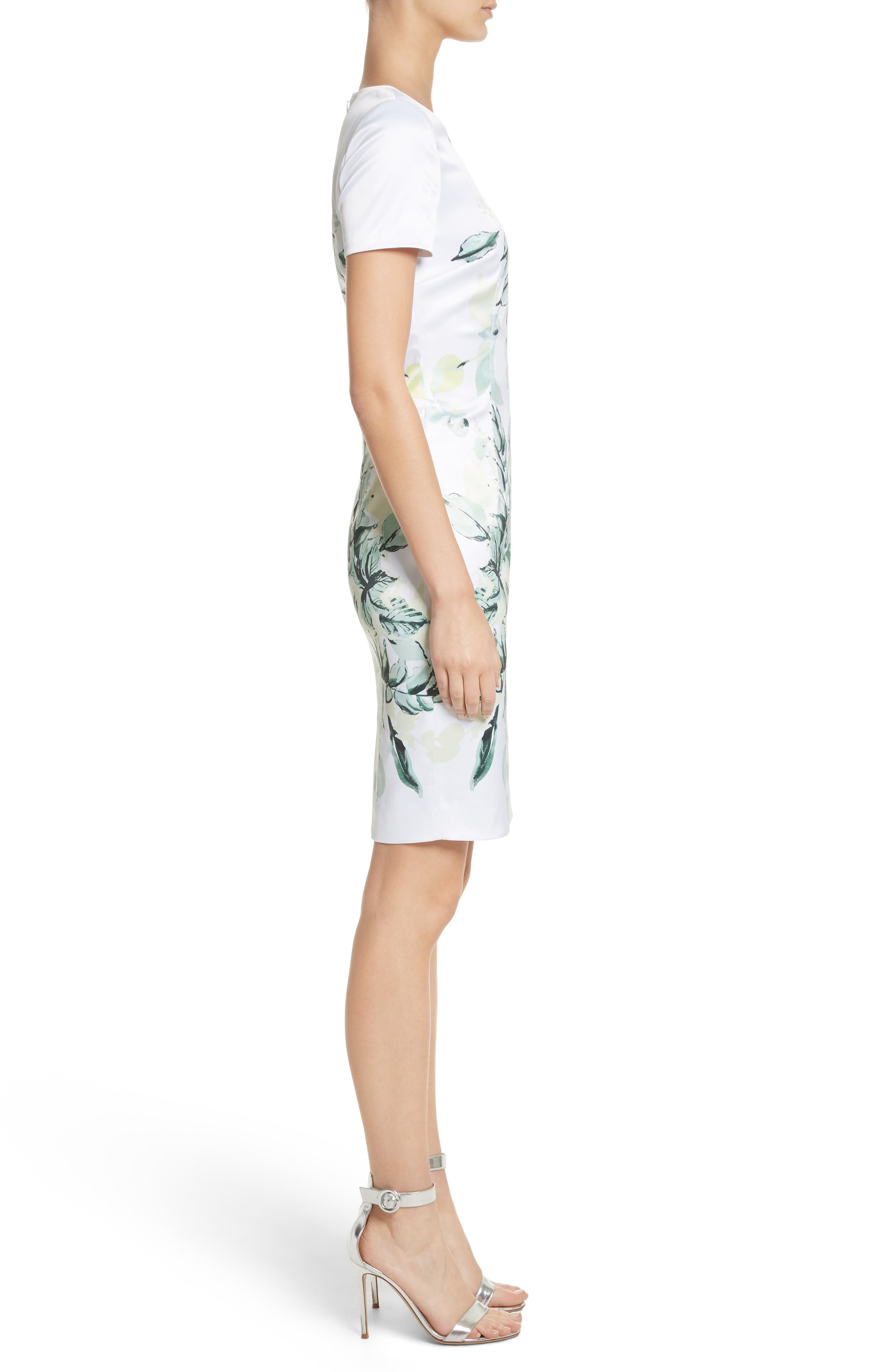 Leaf Print Sheath Dress,                             Alternate thumbnail 3, color,