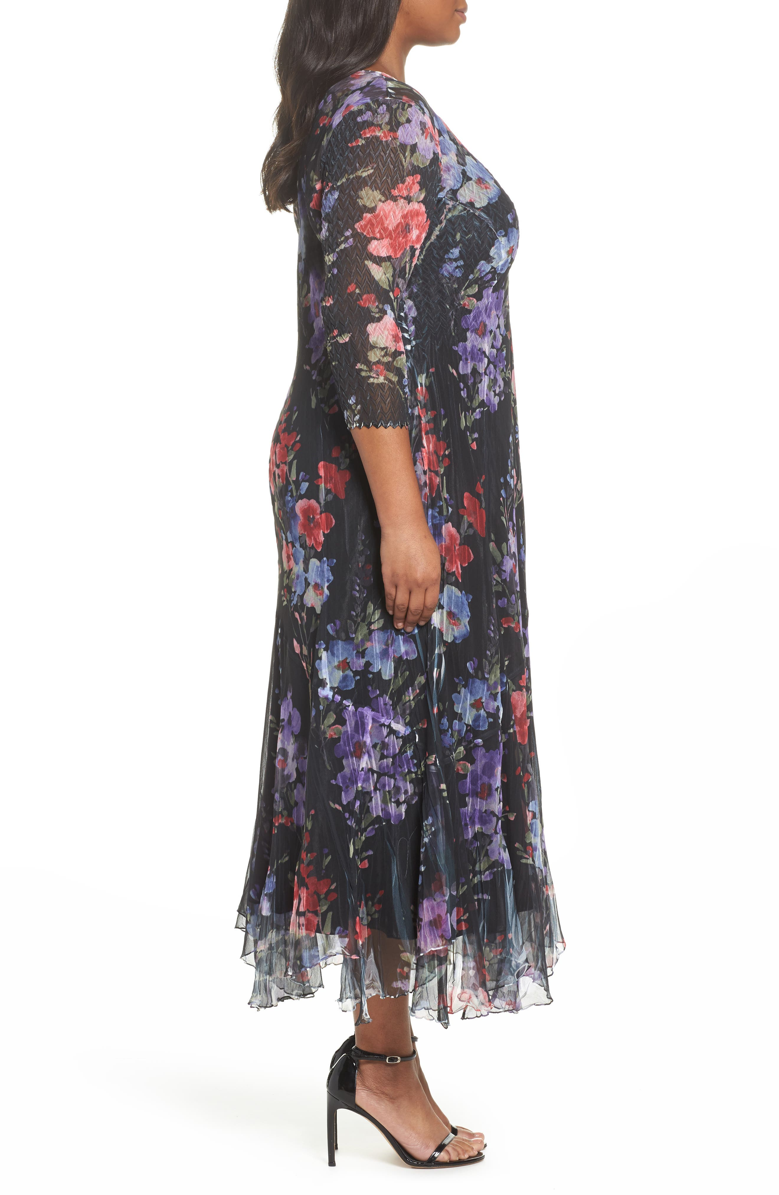 Lace & Charmeuse Floral Print Maxi Dress,                             Alternate thumbnail 3, color,                             400