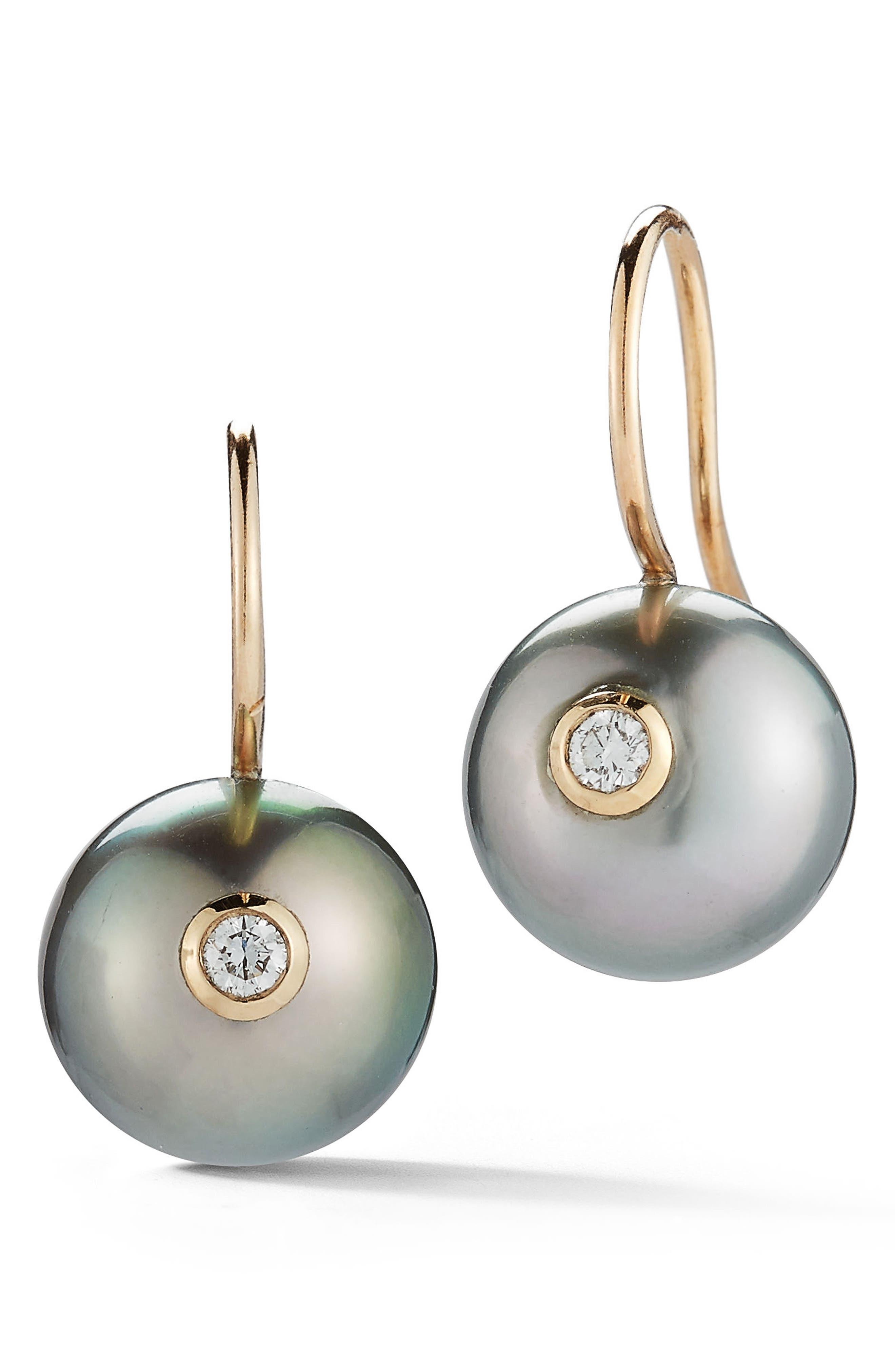 Black Pearl & Diamond Drop Earrings,                         Main,                         color, YELLOW GOLD