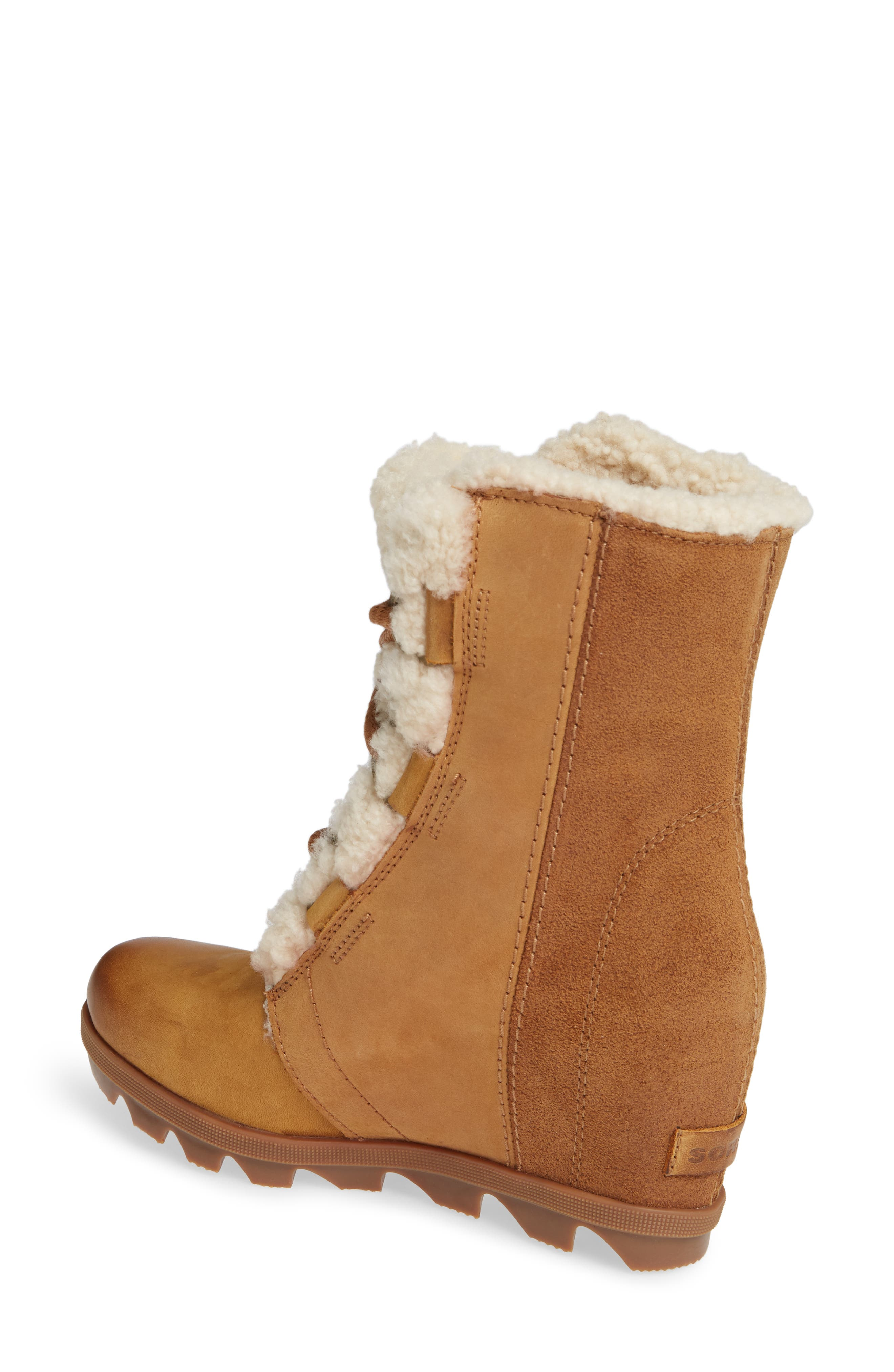 Joan of Arctic Wedge II Genuine Shearling Bootie,                             Alternate thumbnail 2, color,                             CAMEL BROWN