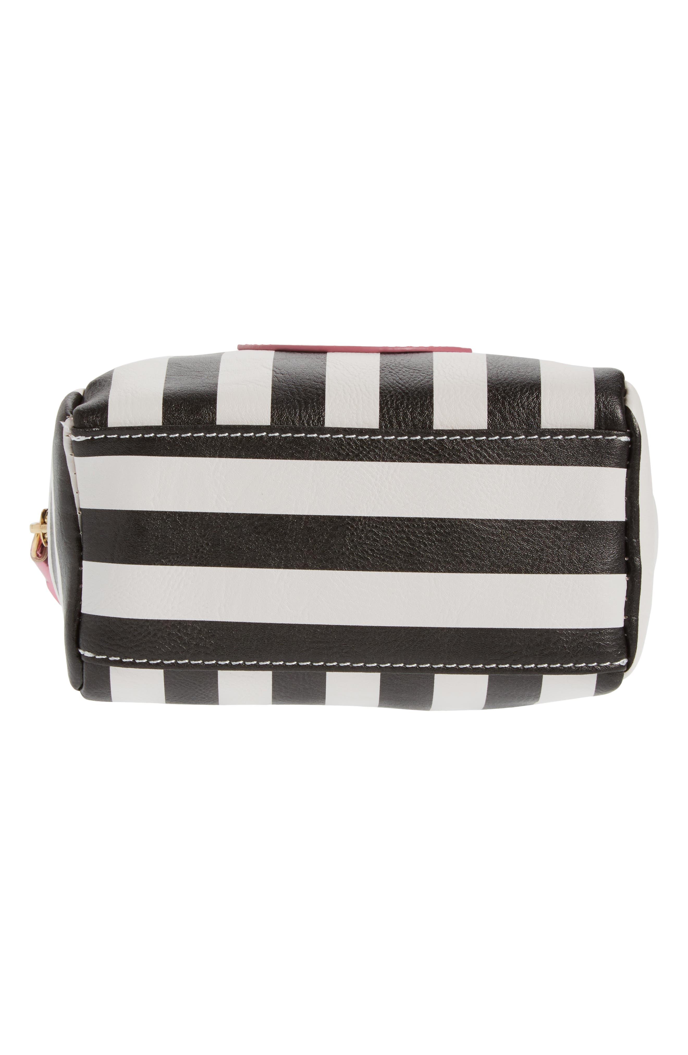 Metallic Lip Stripe Cosmetics Bag,                             Alternate thumbnail 5, color,                             001