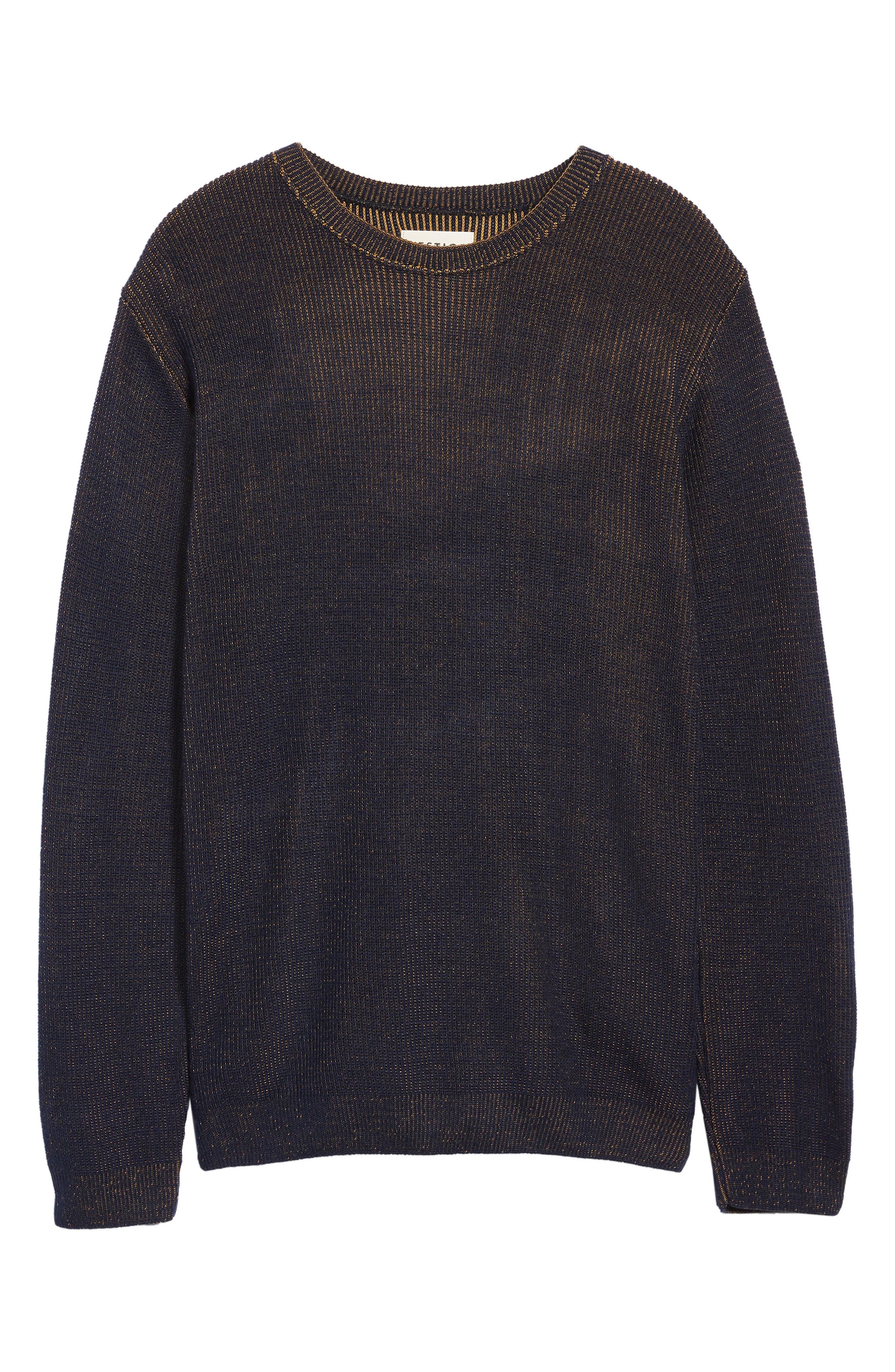 Plaited Crewneck Sweater,                             Alternate thumbnail 6, color,                             NAVY