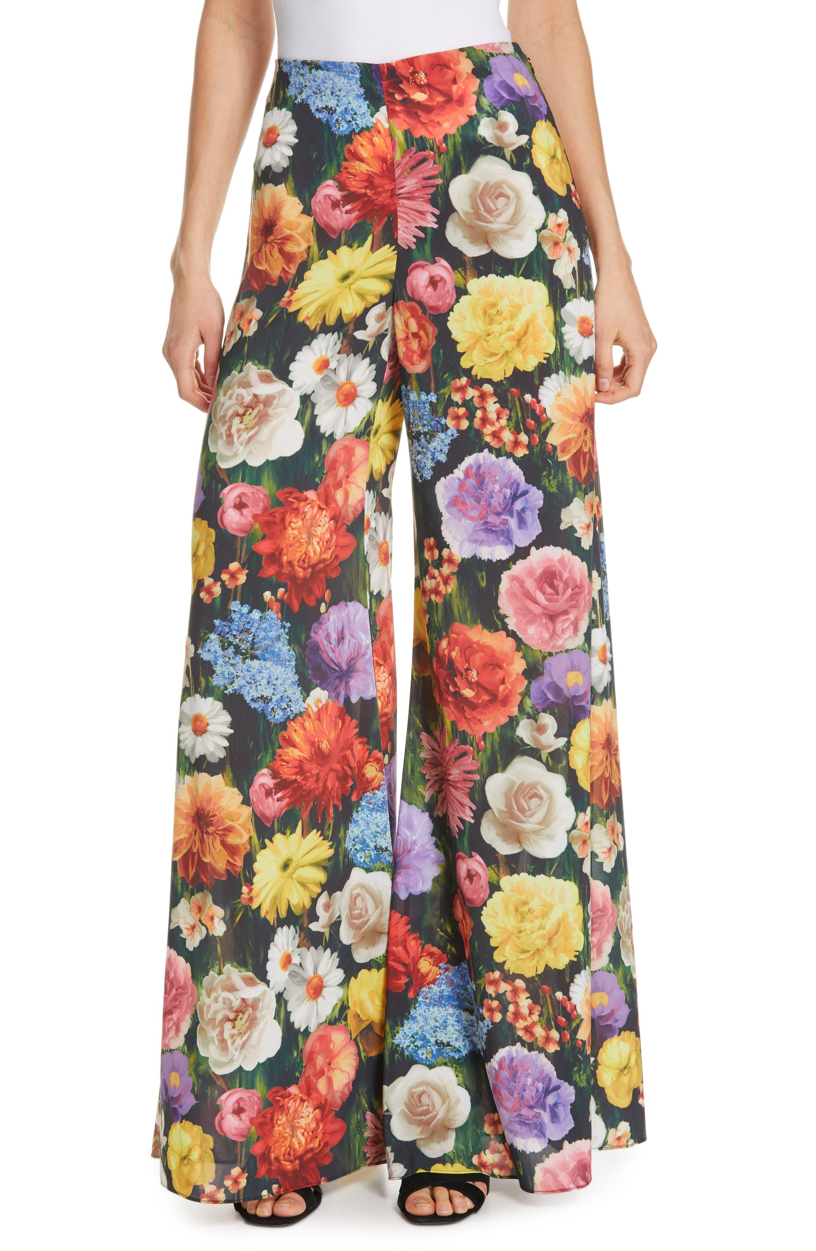Alice + Olivia Iyanna Floral Flare Leg Pants, Black