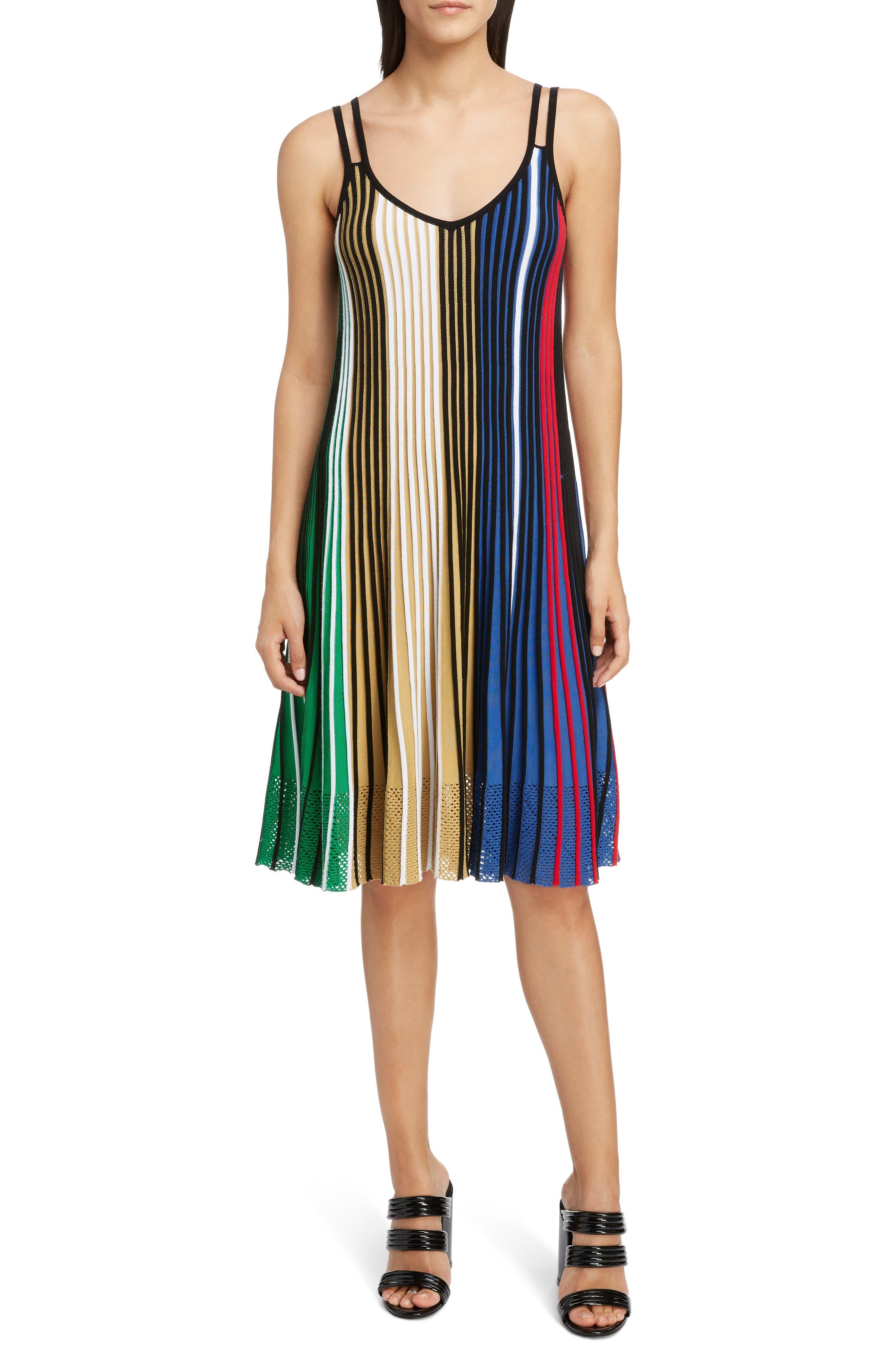 Pleated Rib Knit Dress, Main, color, MULTICOLOR