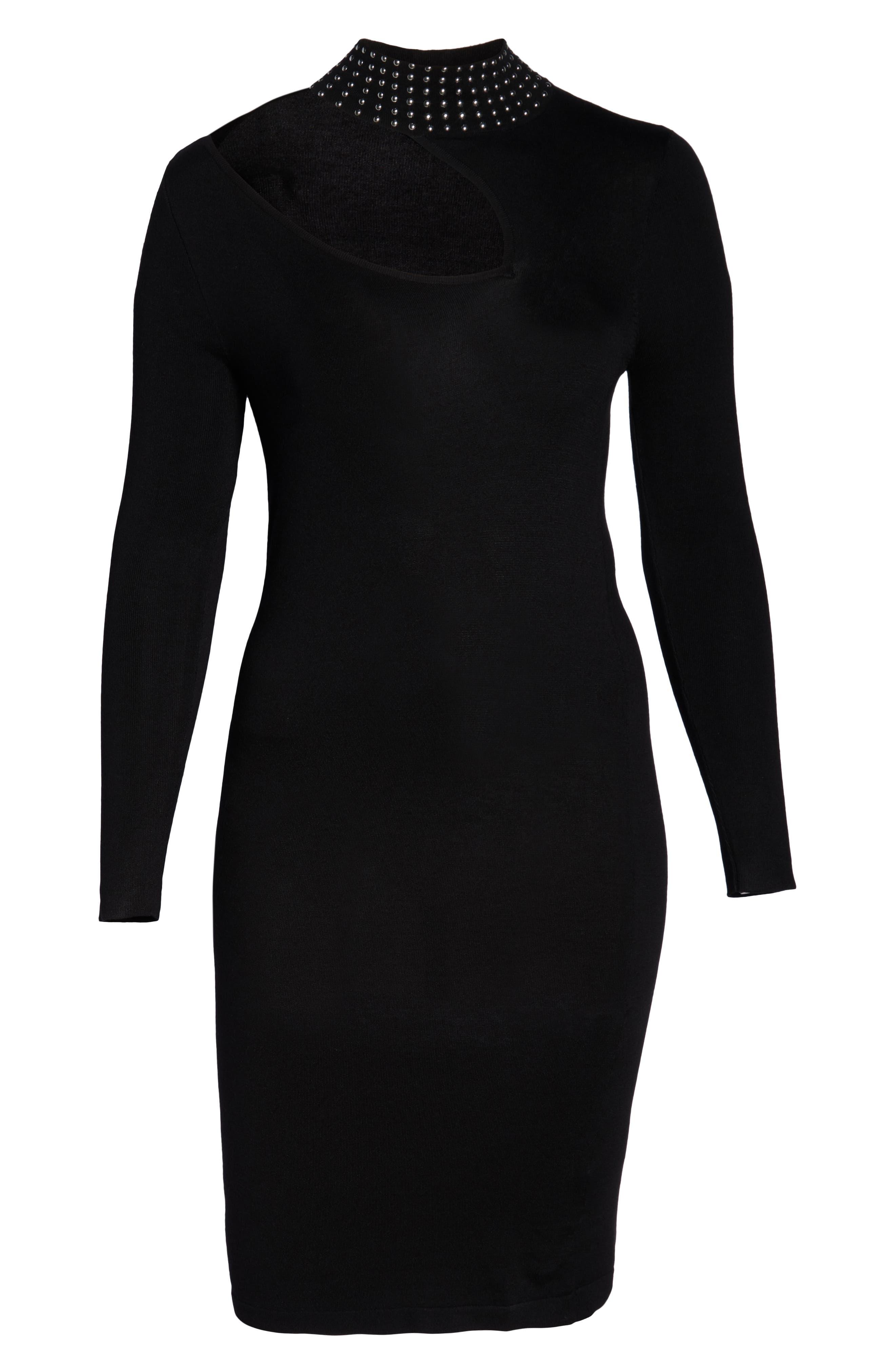 Stud Detail Body-Con Dress,                             Alternate thumbnail 7, color,                             BLACK