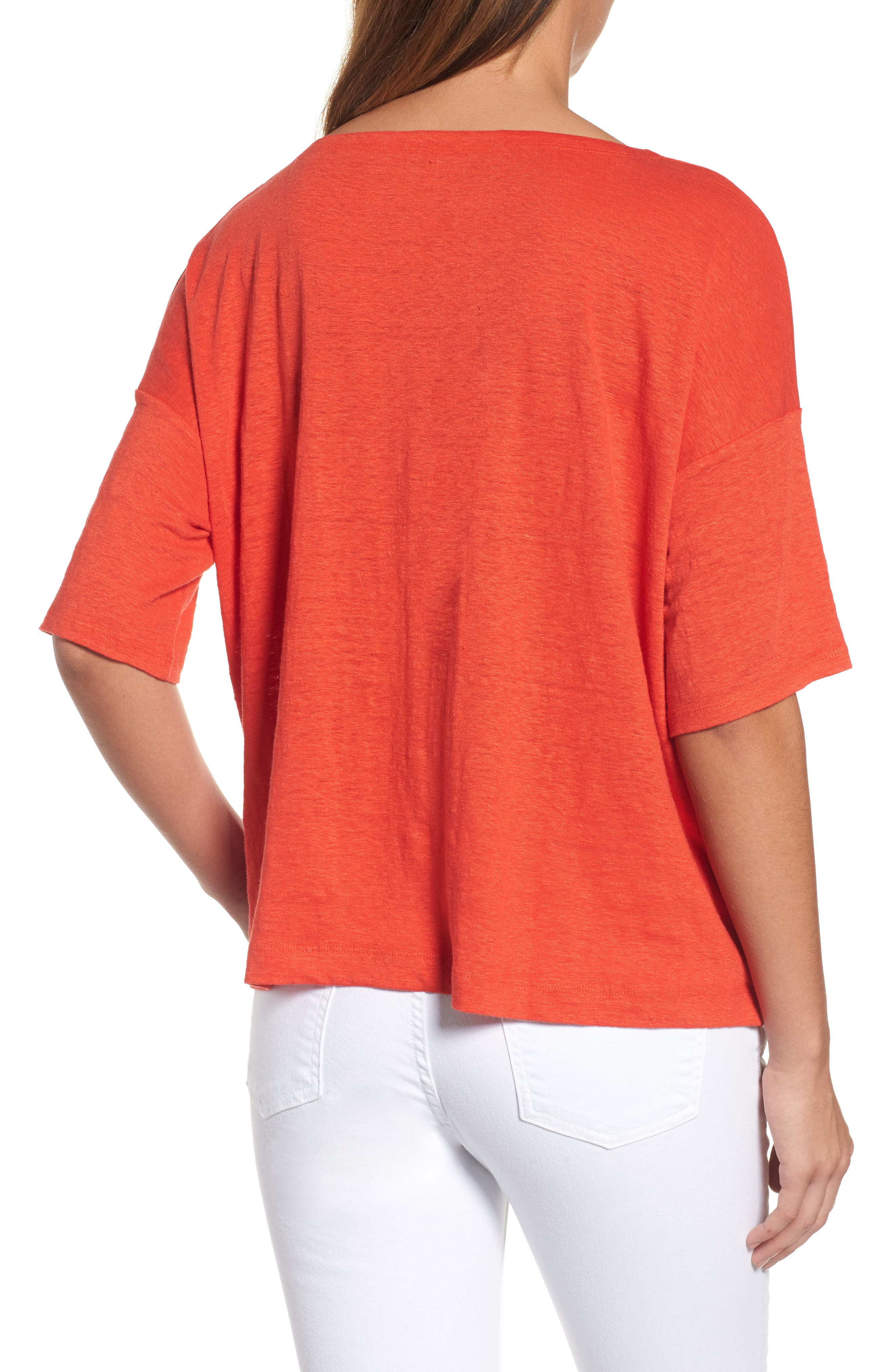 Organic Linen Jersey Boxy Top,                             Alternate thumbnail 13, color,